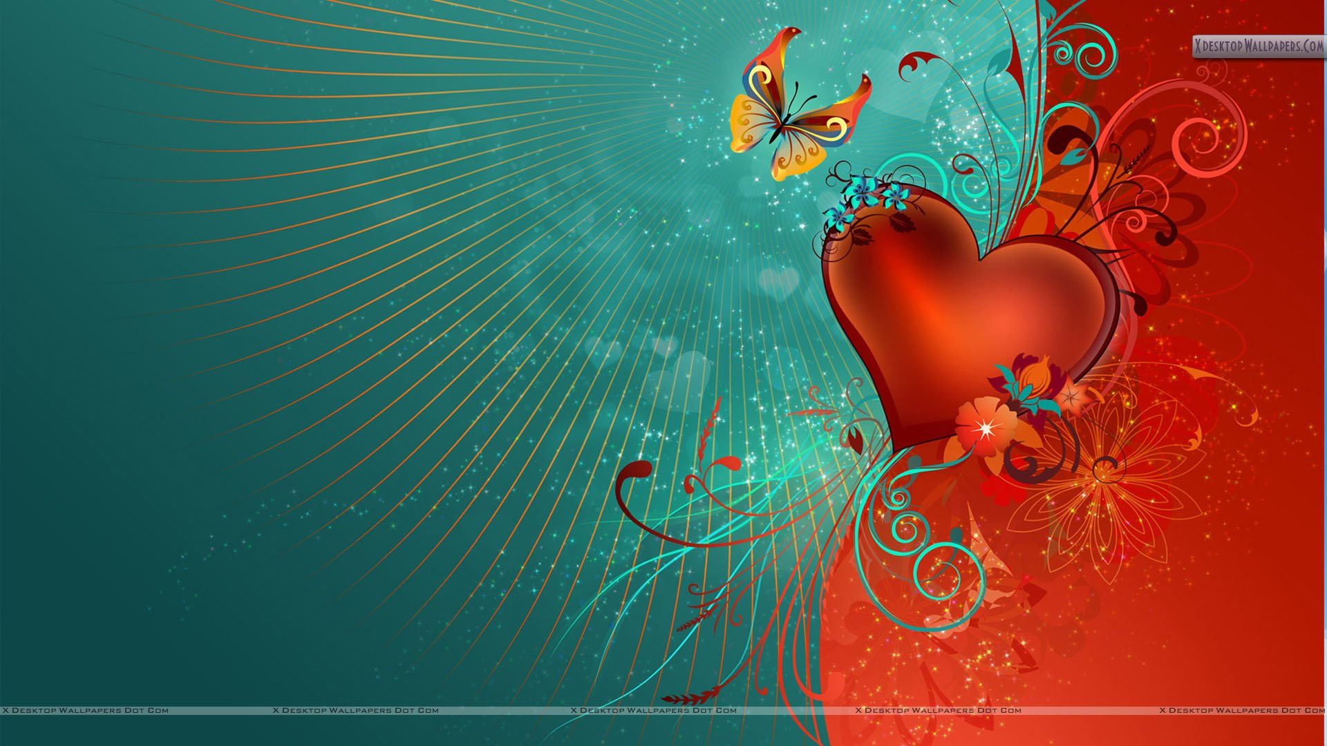 Valentines Day Artistic Wallpaper Red Heart And Butterfly Wallpaper