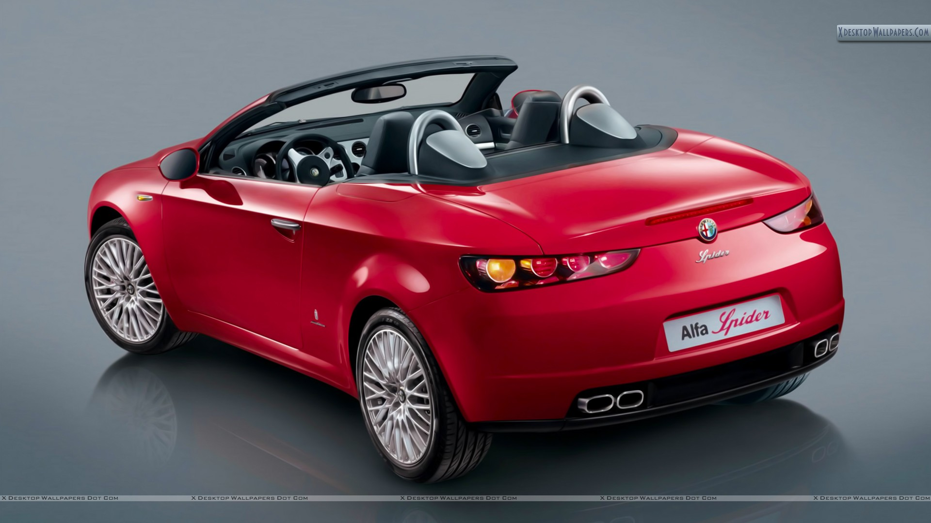 alfa romeo spider open car in red back photo wallpaper. Black Bedroom Furniture Sets. Home Design Ideas