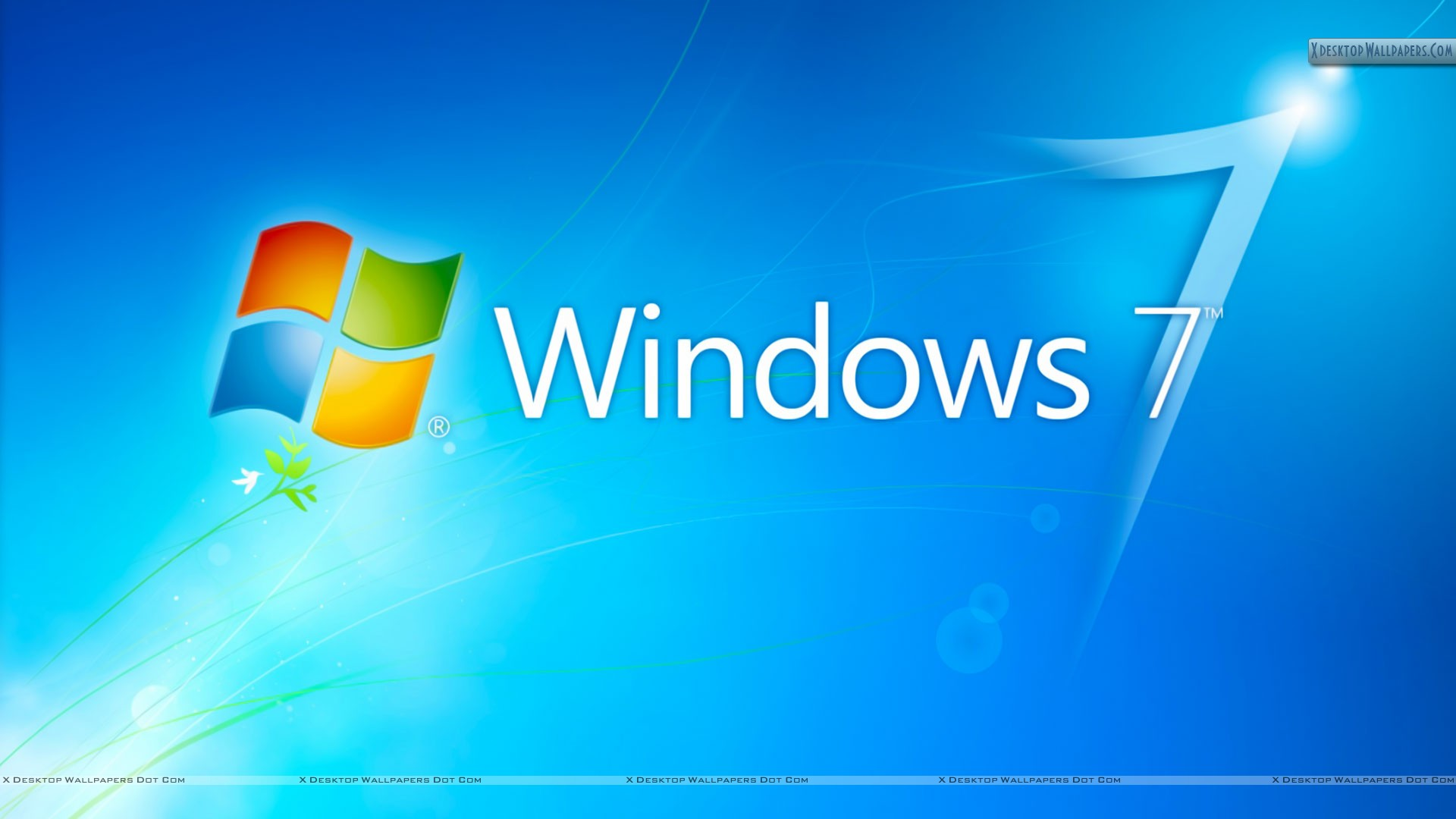 windows 7 hd blue background with logo wallpaper