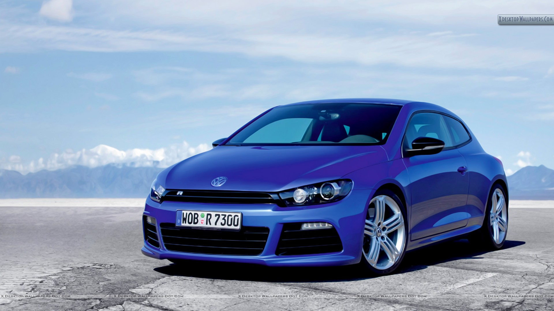 volkswagen scirocco r blue car side front pose wallpaper. Black Bedroom Furniture Sets. Home Design Ideas