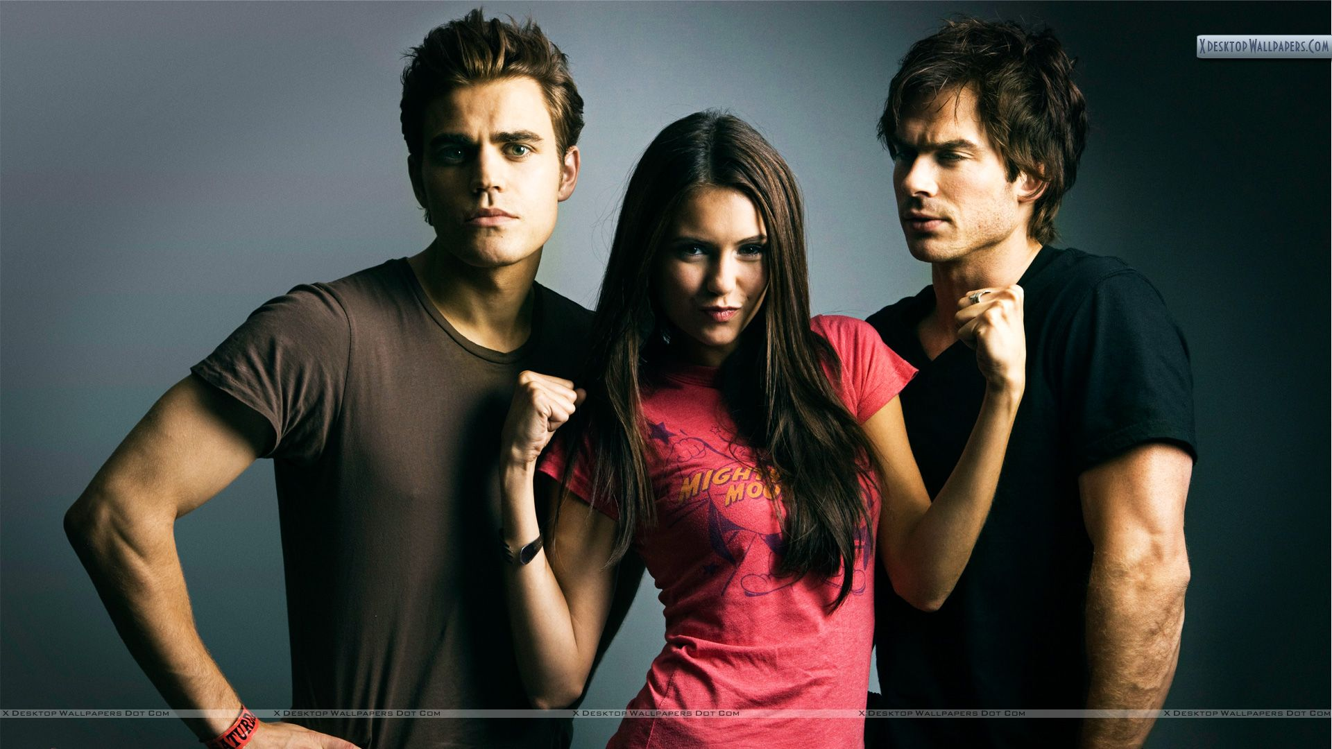 Elena in Pink Top With Stefan Damon Wallpaper