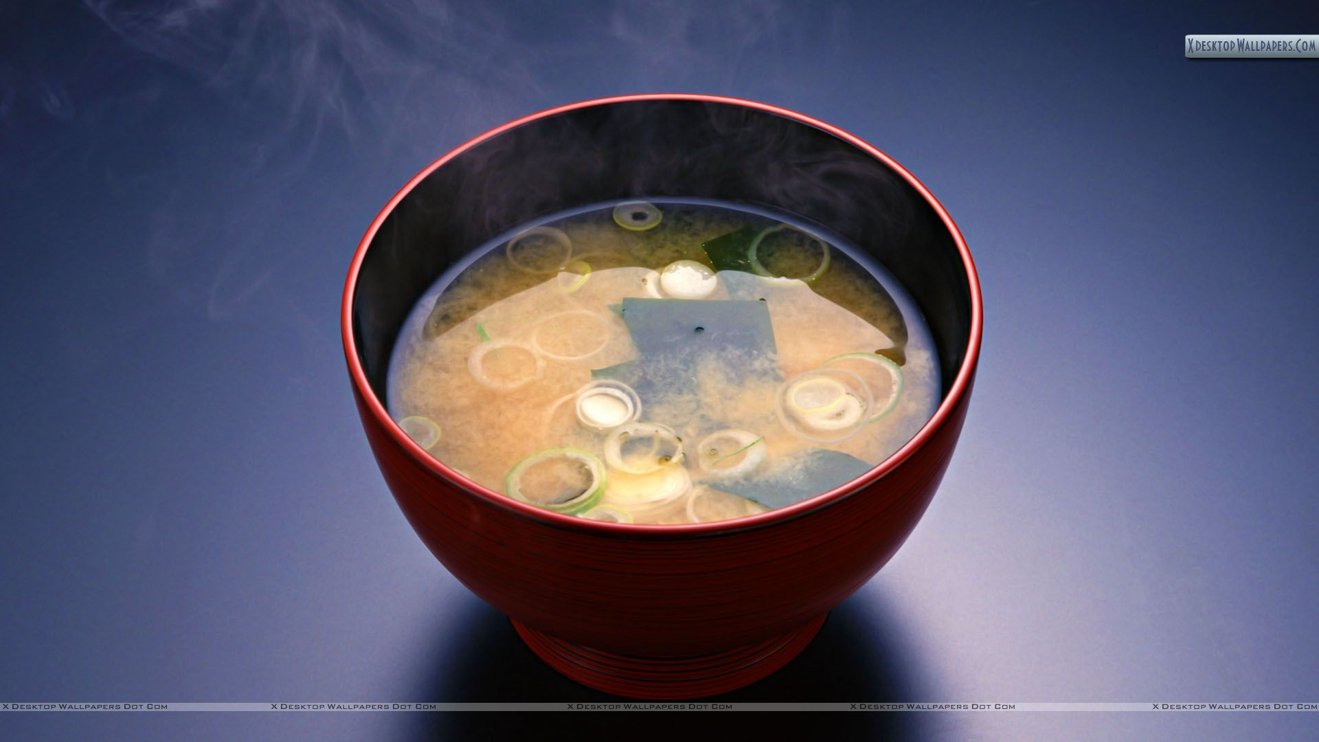 Steam From Soup ~ Vegitable soup in a red bowl with steam wallpaper