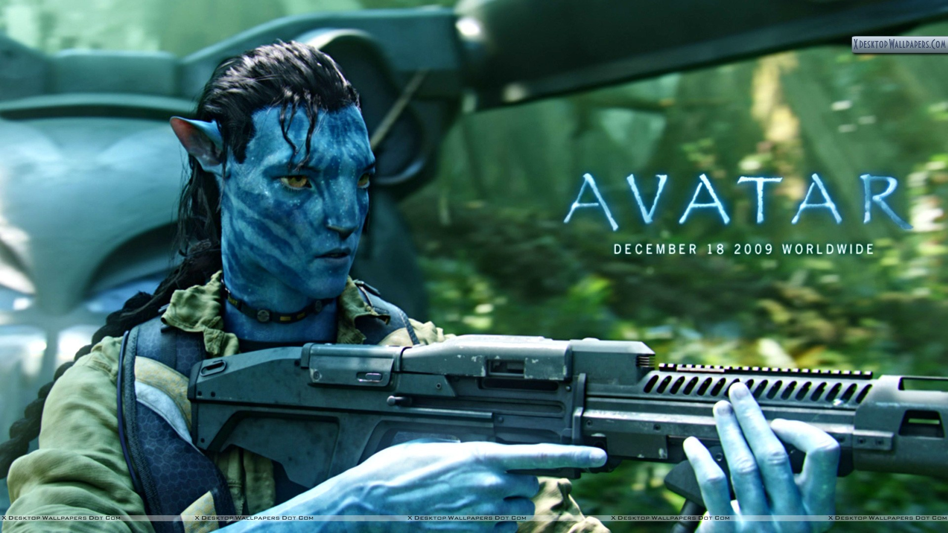 Jake Sully With Gun In Movie Avatar Wallpaper