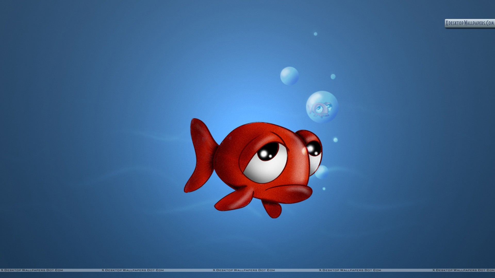 3D Fish in Sad Mood Wallpaper