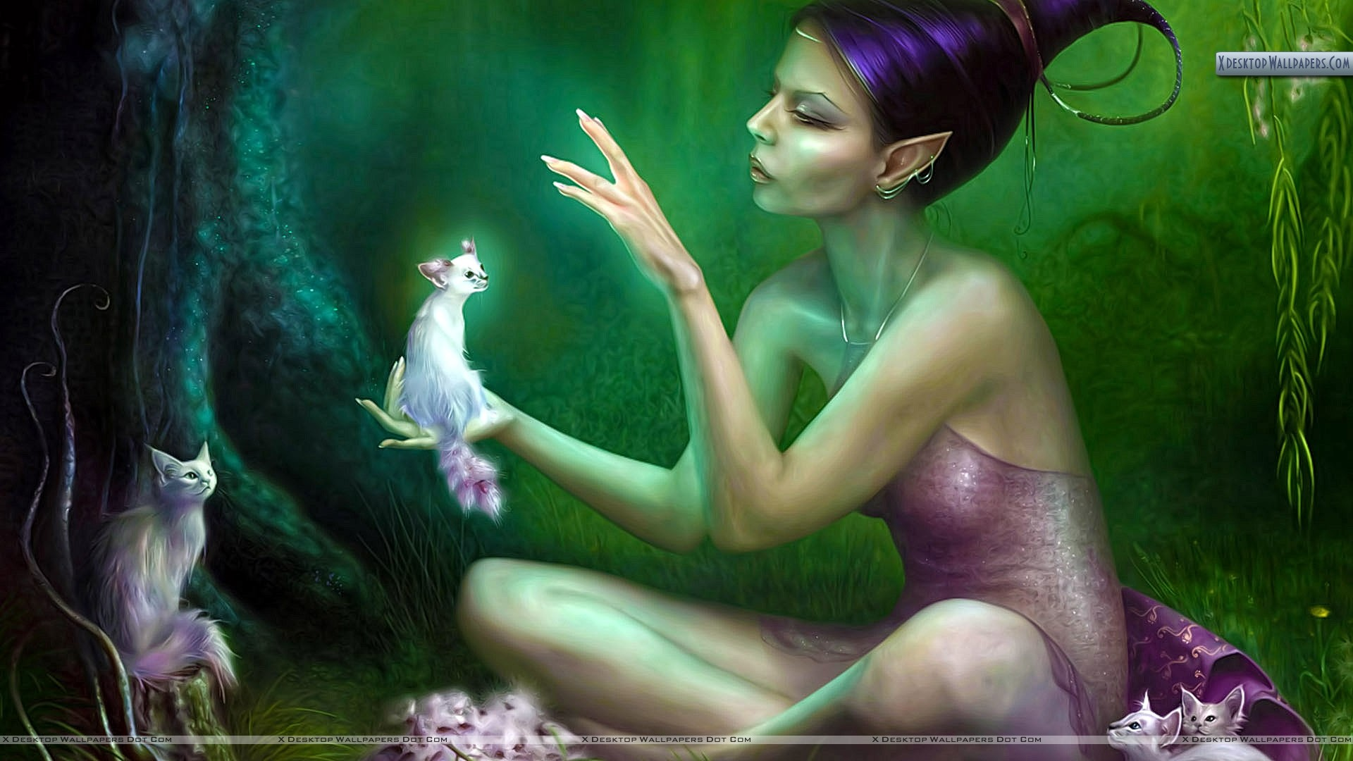 a beautiful 3d angel with white cats wallpaper