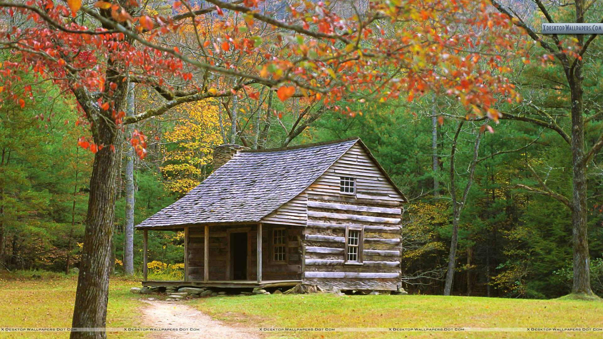 Historic Log Cabin In The Smoky Mountains Wallpaper