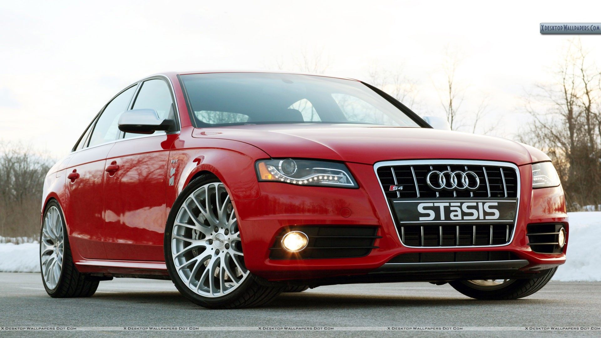 Stasis Signature Audi S4 Red Color Front Pose Wallpaper