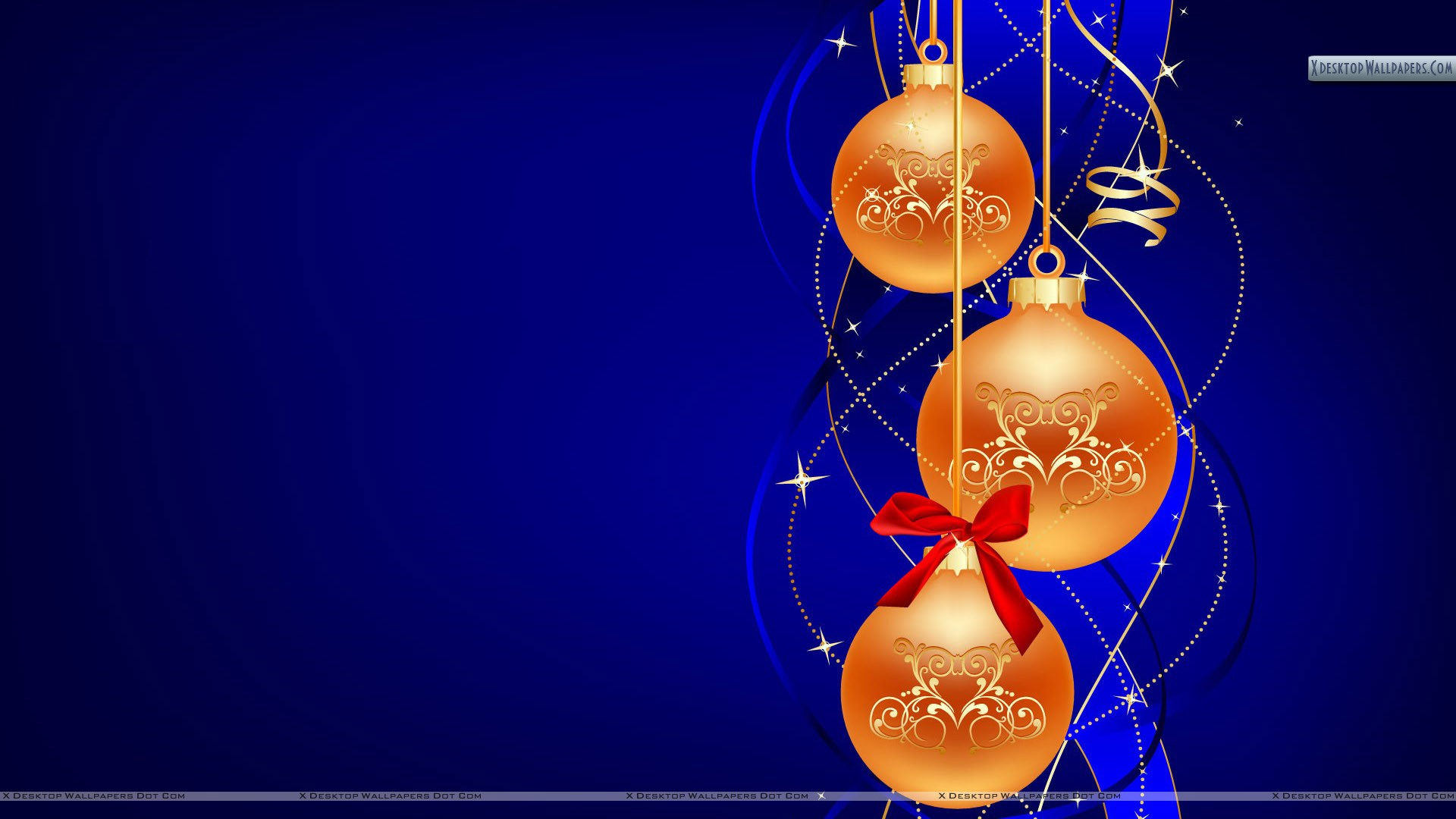 Bulbs for christmas day on blue background wallpaper
