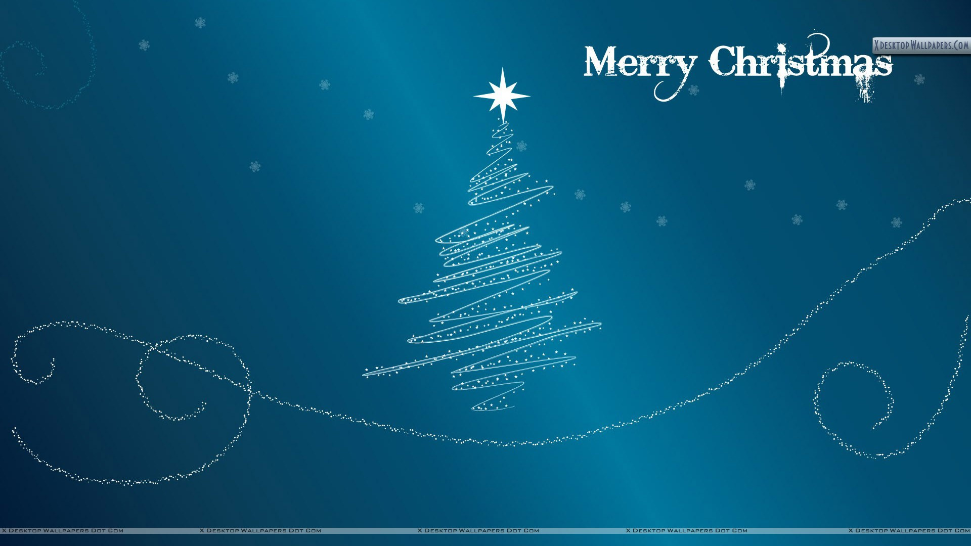 Merry Christmas With Blue Background Wallpaper
