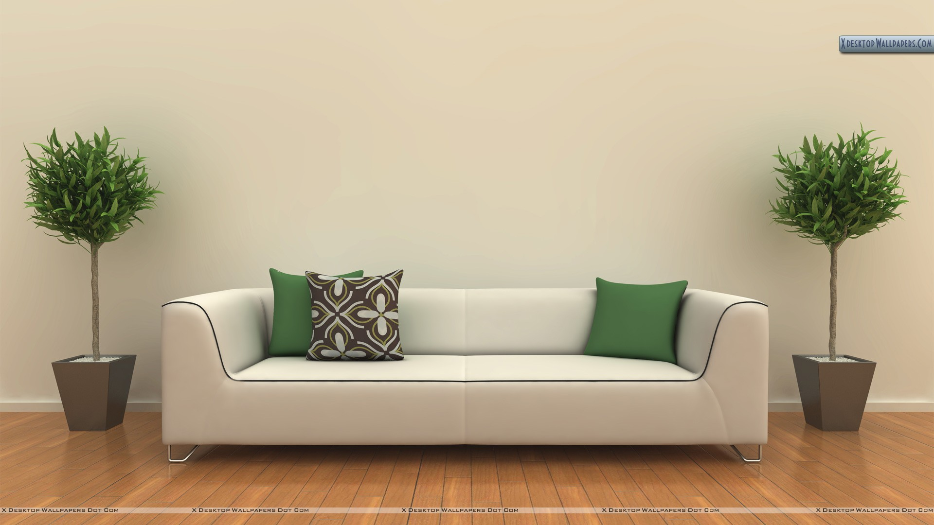 White sofa in a room wallpaper for Sitting room sofa