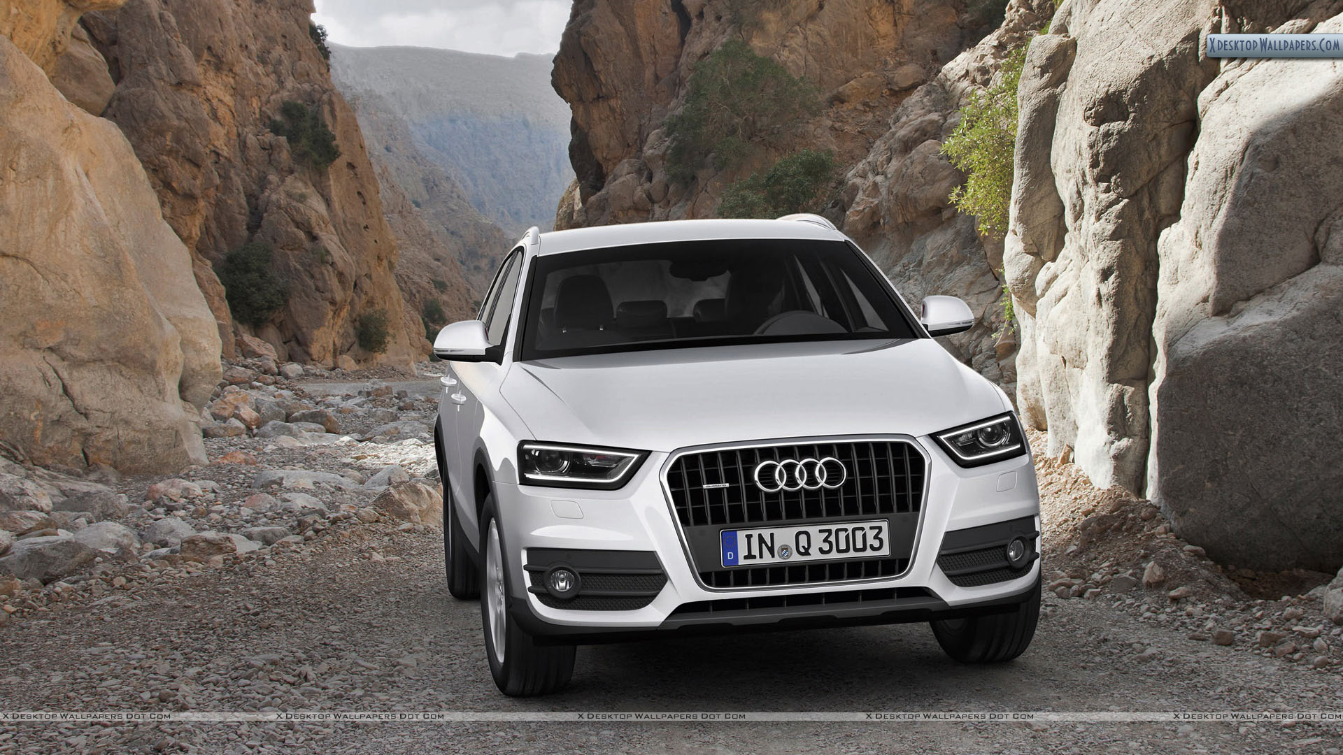 Audi Q3 White Color In A Valley Wallpaper