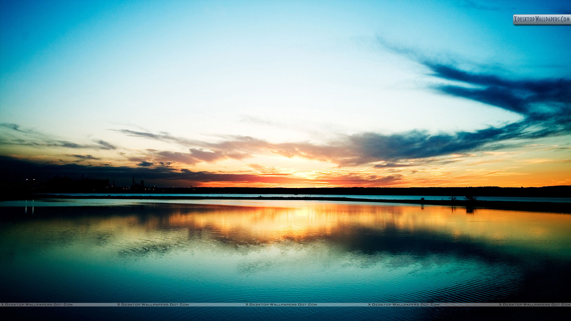 colorful sunset at river side wallpaper