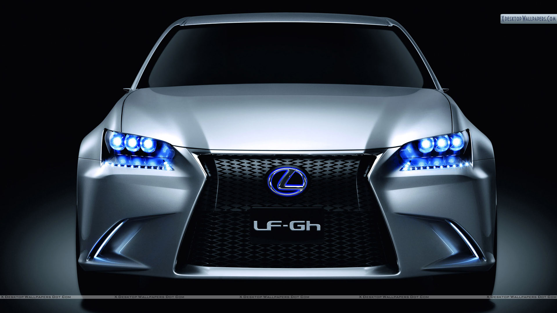 Lexus Lf Gh Hybrid Concept Front Pose With Blue Lights Wallpaper
