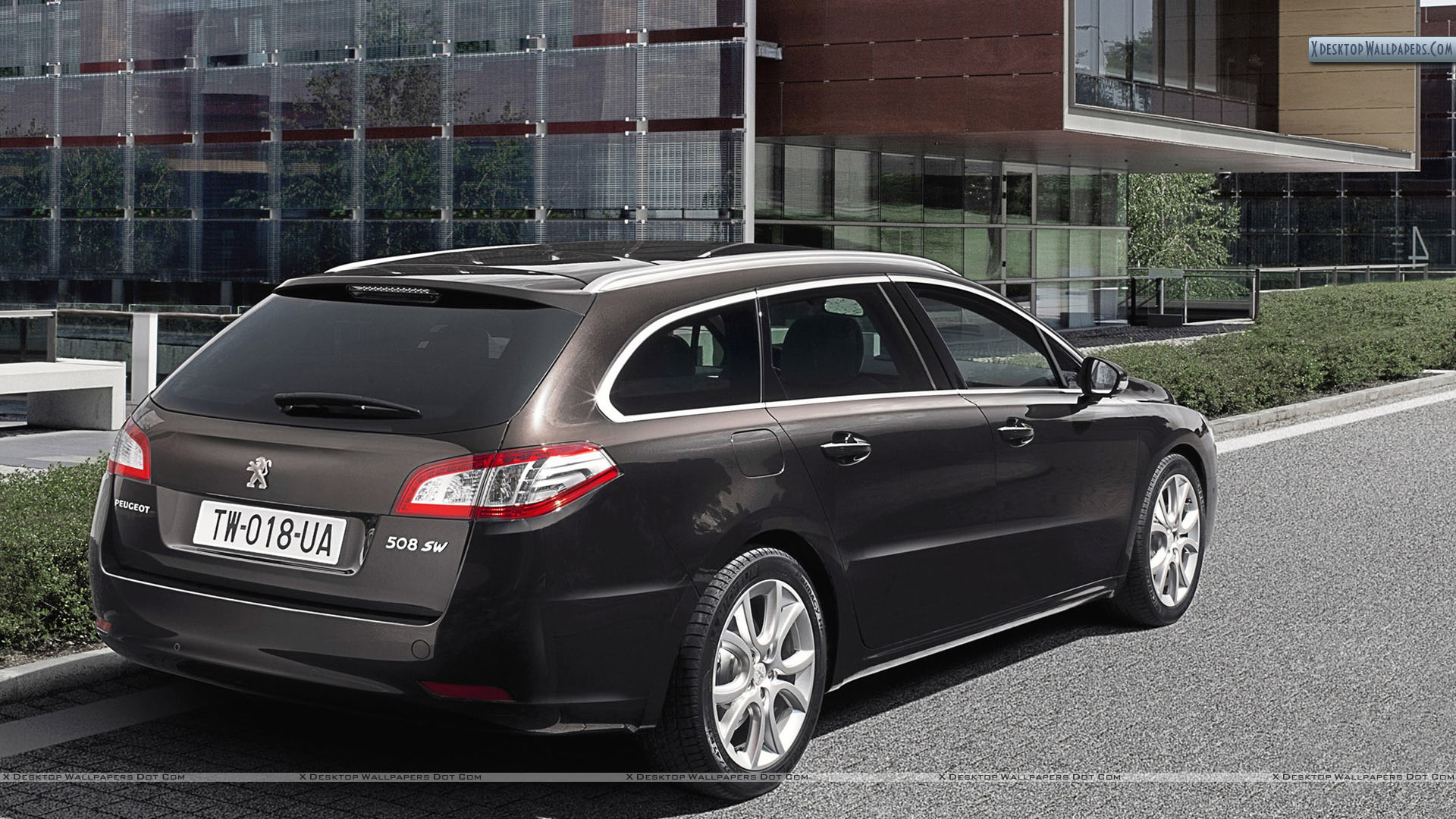 peugeot 508 sw parked outside a building wallpaper. Black Bedroom Furniture Sets. Home Design Ideas