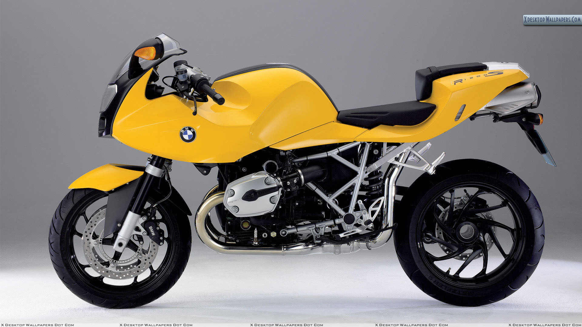 bmw r1200s in yellow color side view wallpaper