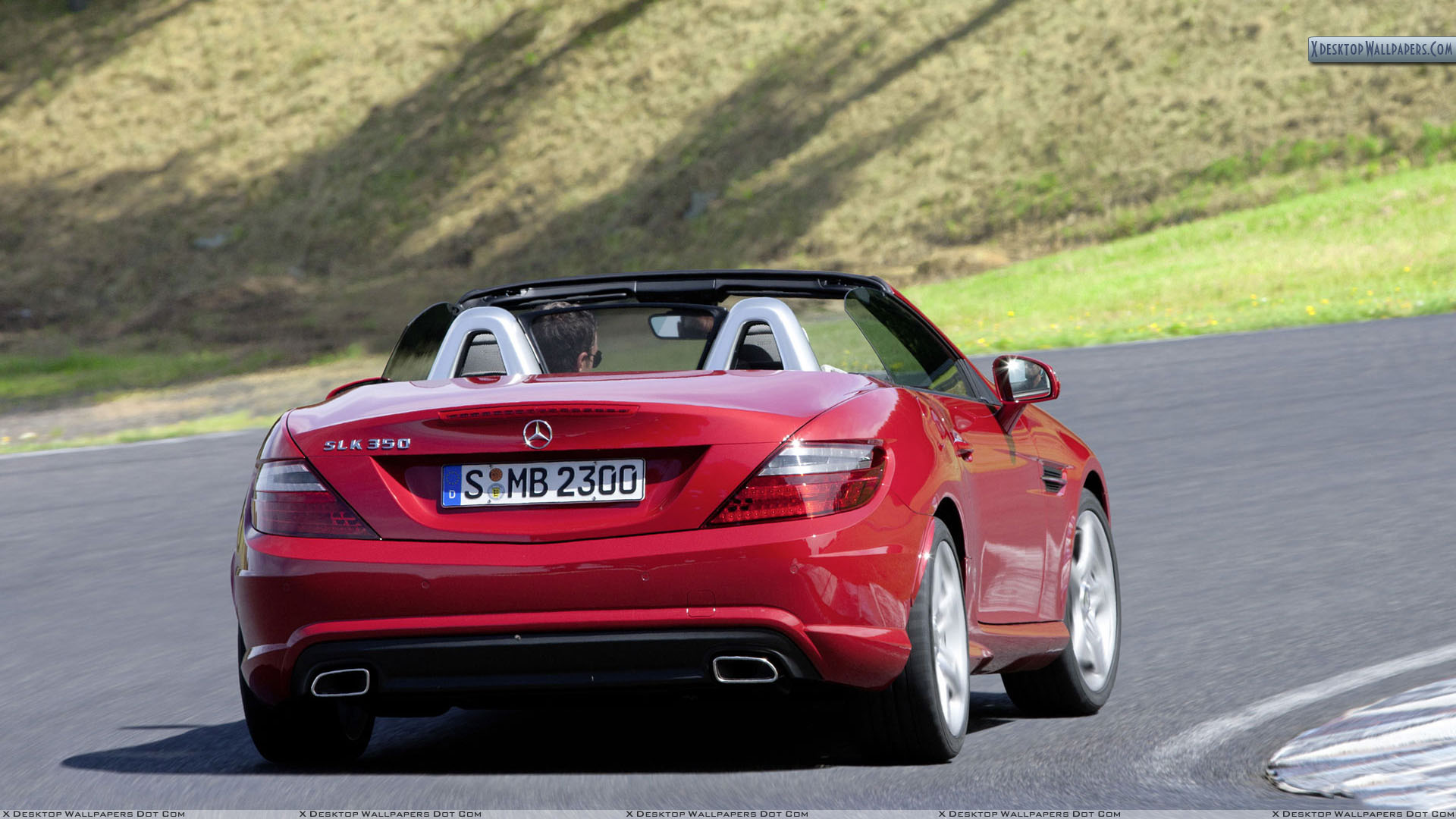 back pose of red mercedes benz slk 350 on highway wallpaper. Black Bedroom Furniture Sets. Home Design Ideas