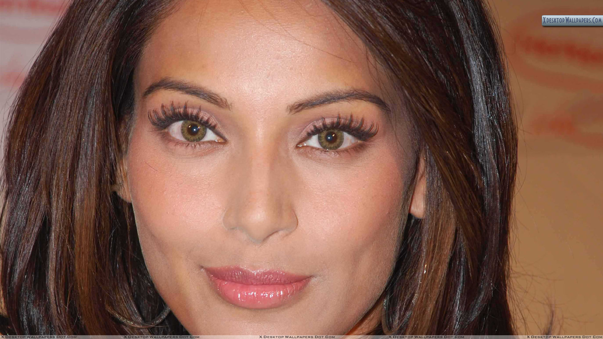 bipasha basu pink lips and brown eyes face closeup wallpaper