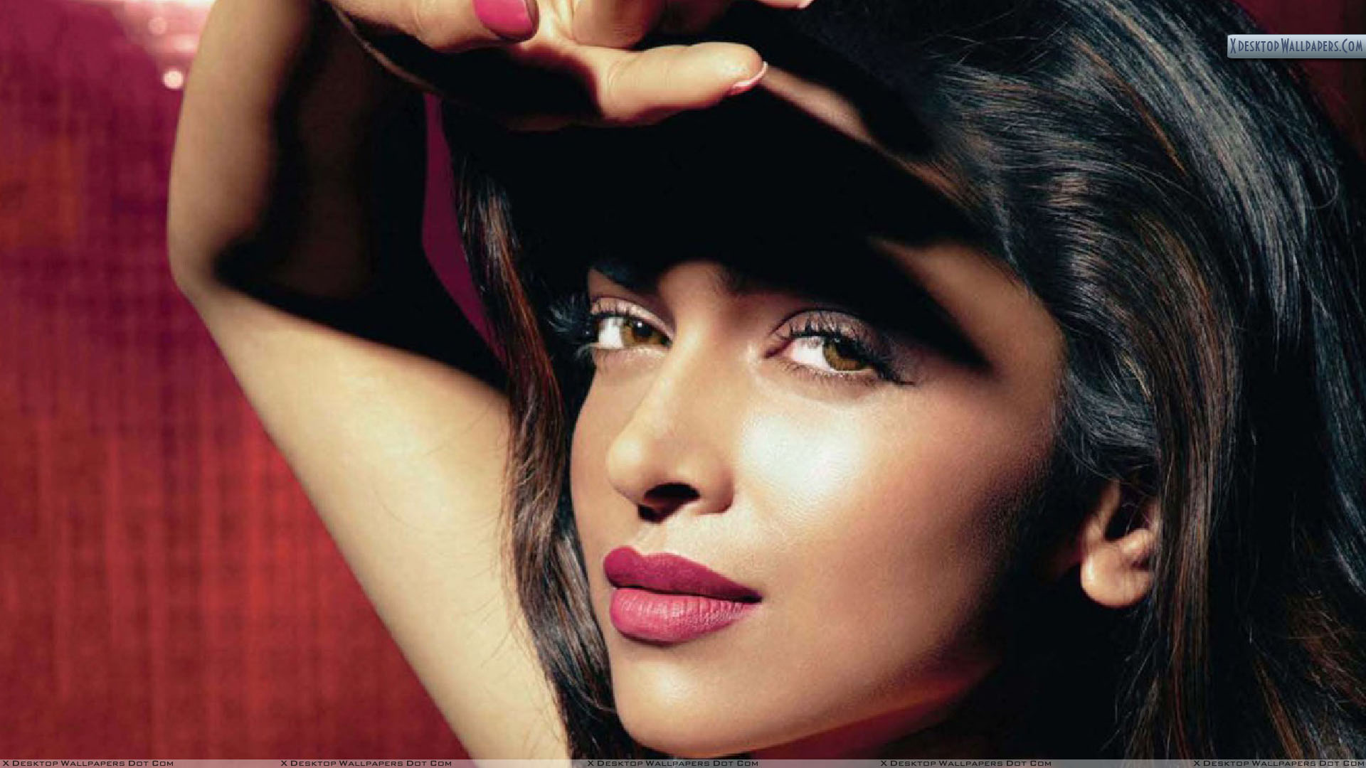 deepika padukone red lips side face closeup wallpaper