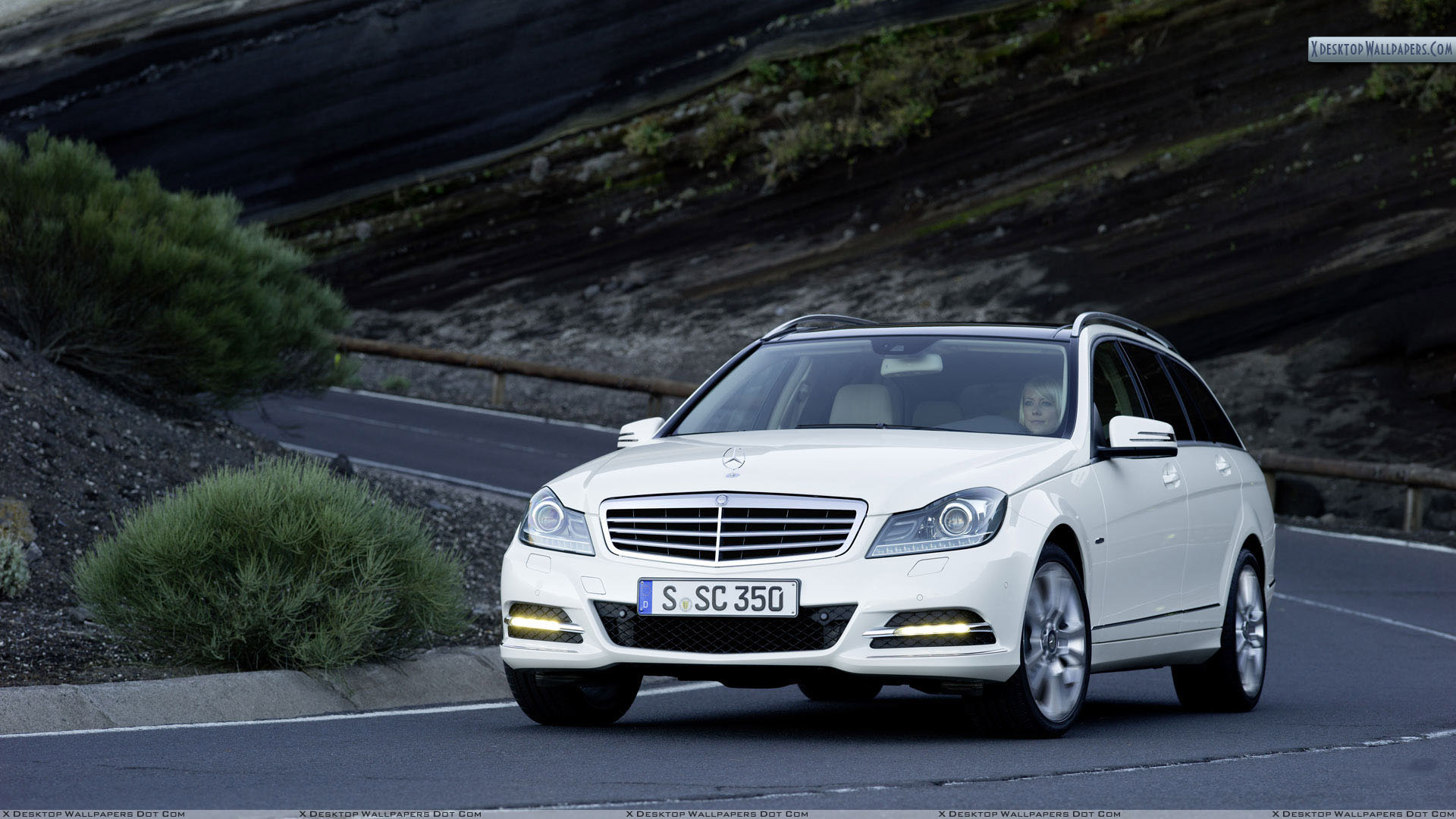 mercedes-benz c-class c350 on highway wallpaper