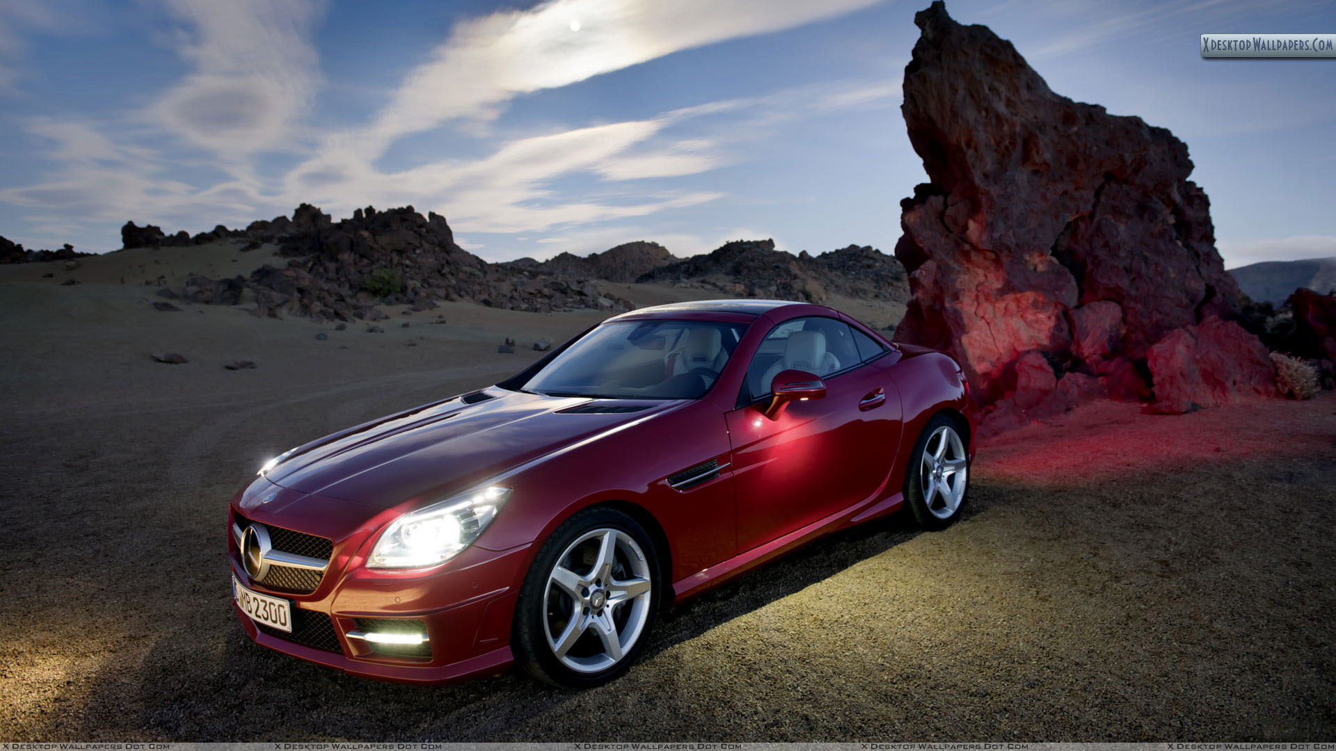 Red color mercedes benz slk 350 near mountains wallpaper for Mercedes benz red