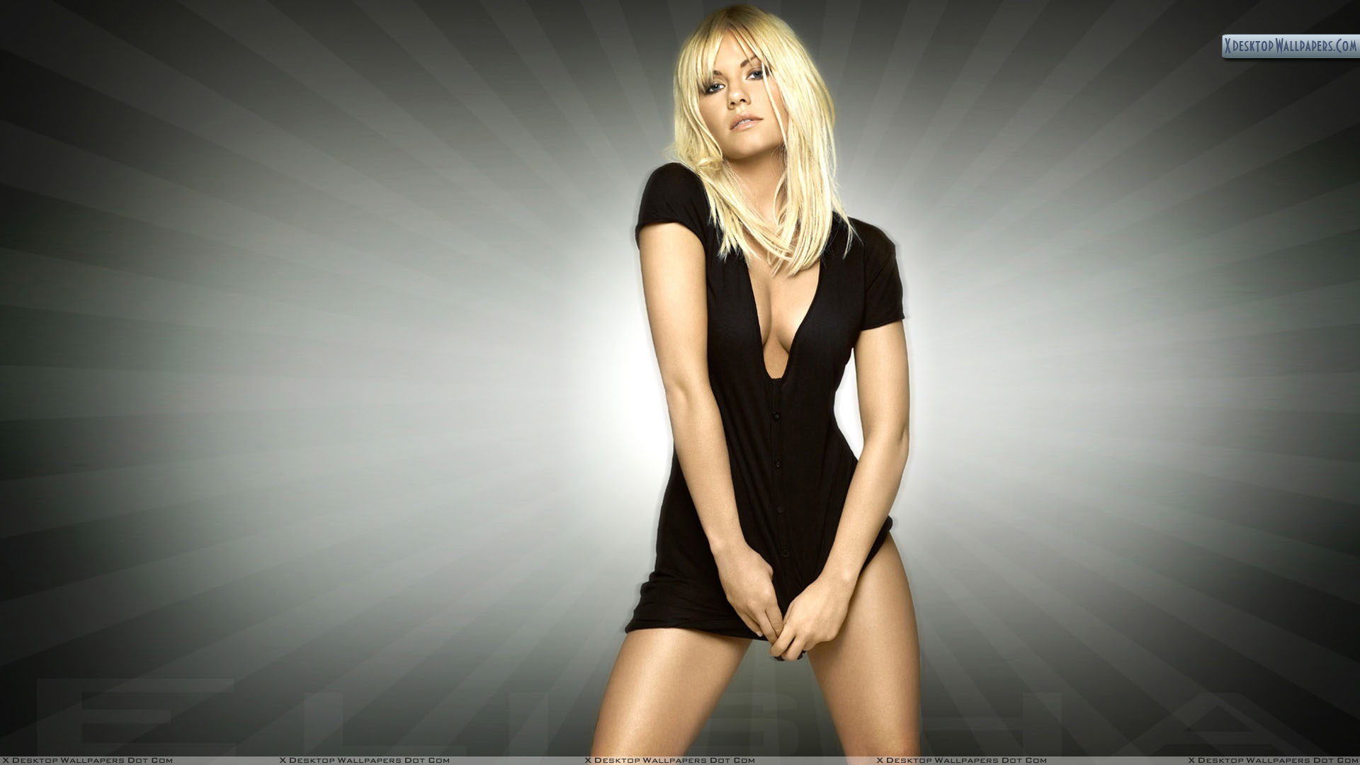 Front Pose Of Elisha Cuthbert In Black Dress Wallpaper