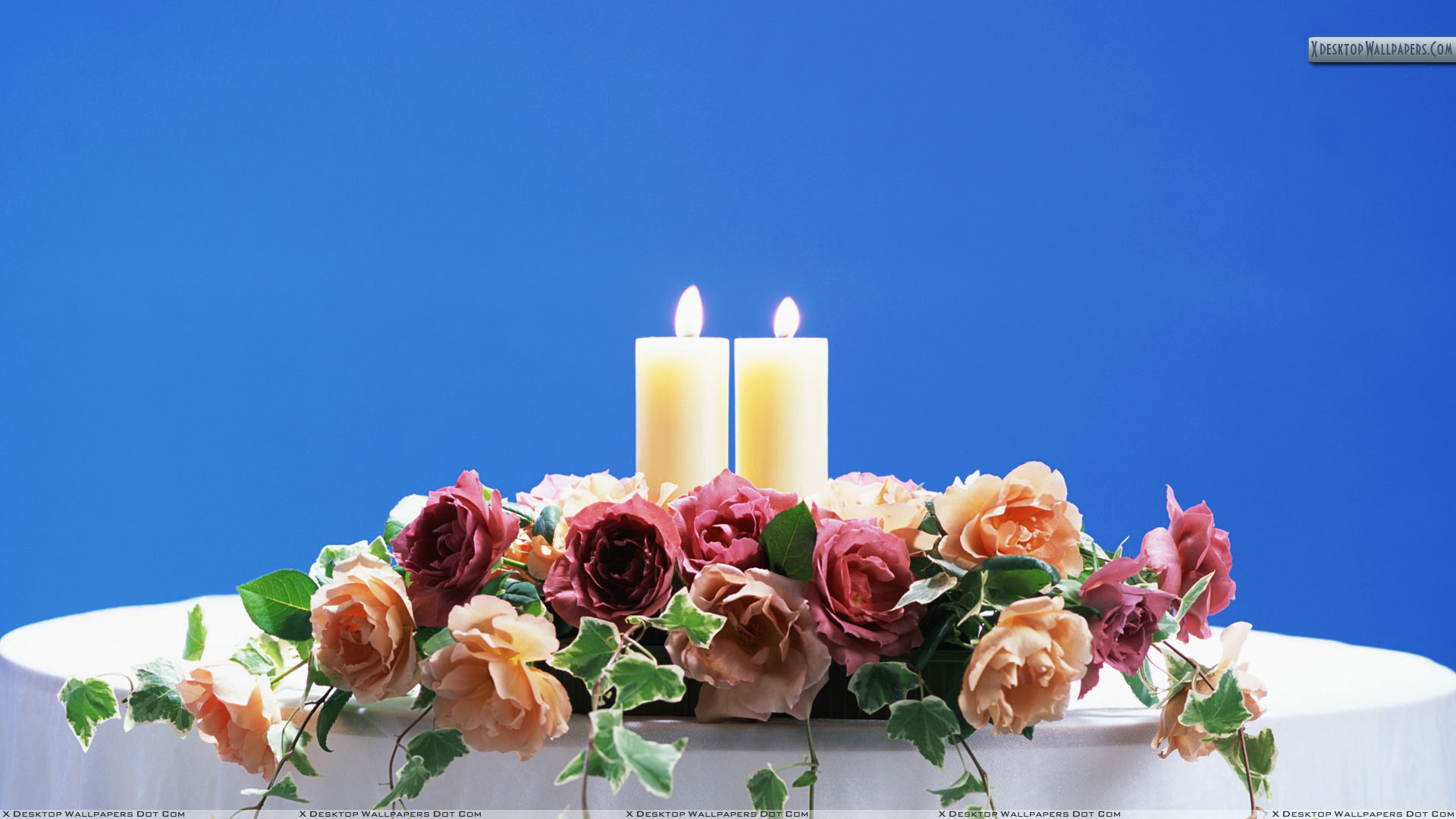 Two Candles On Wedding Table Wallpaper