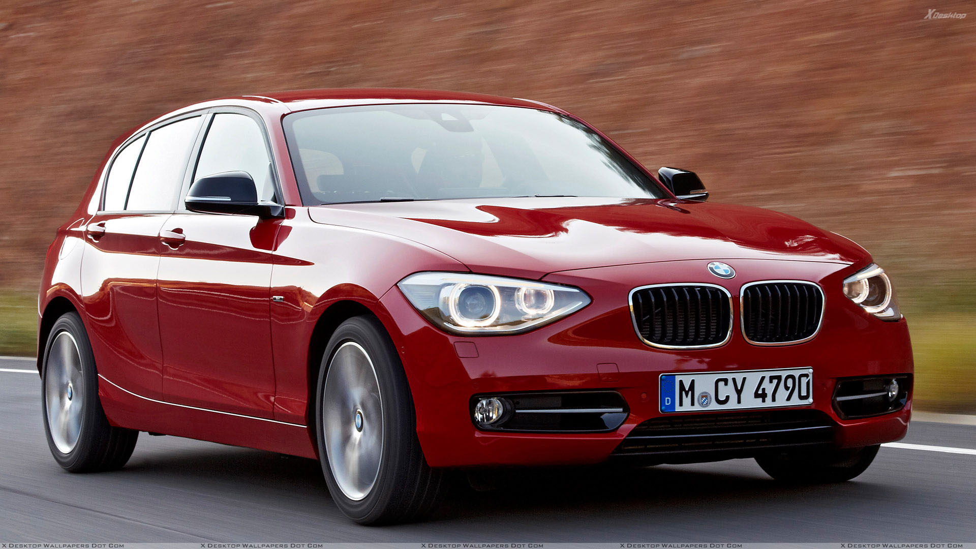 2012 bmw 1 series on highway front pose in red wallpaper. Black Bedroom Furniture Sets. Home Design Ideas