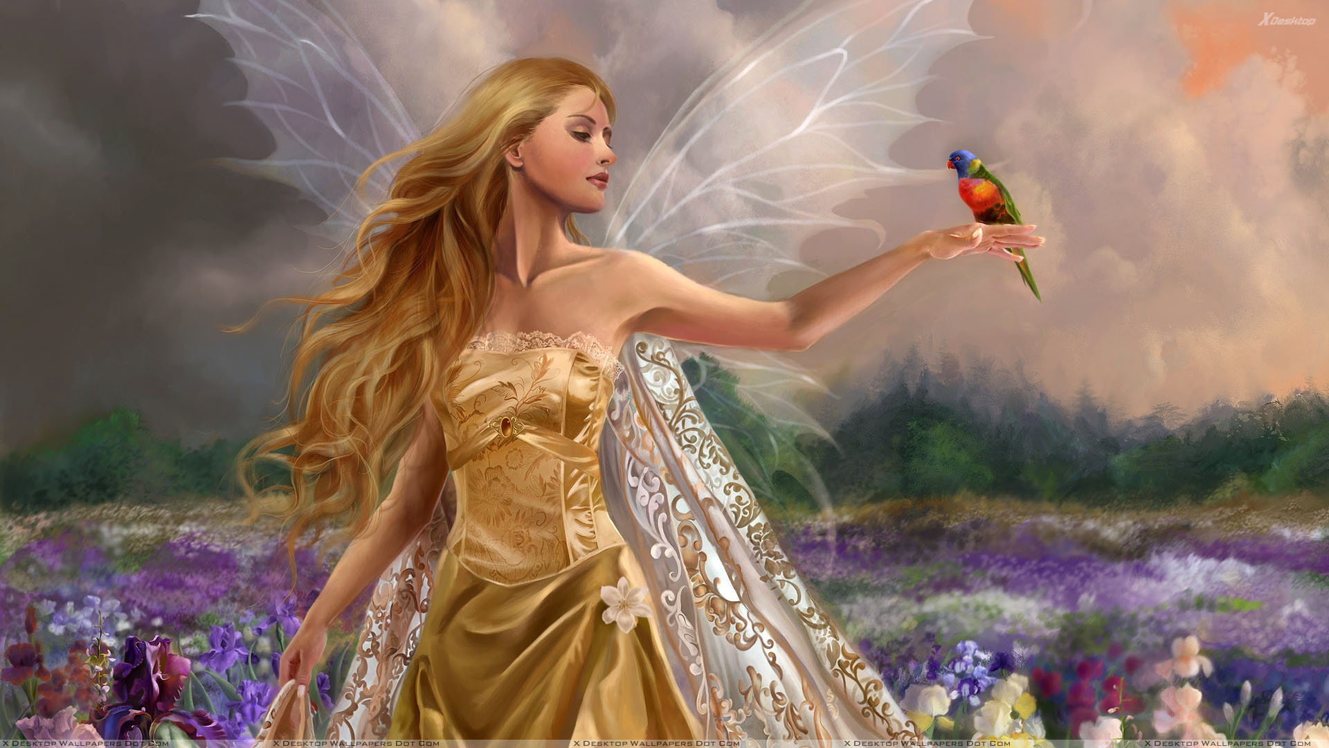 3d Girl In Golden Long Dress And Bird On Hand In Garden Wallpaper