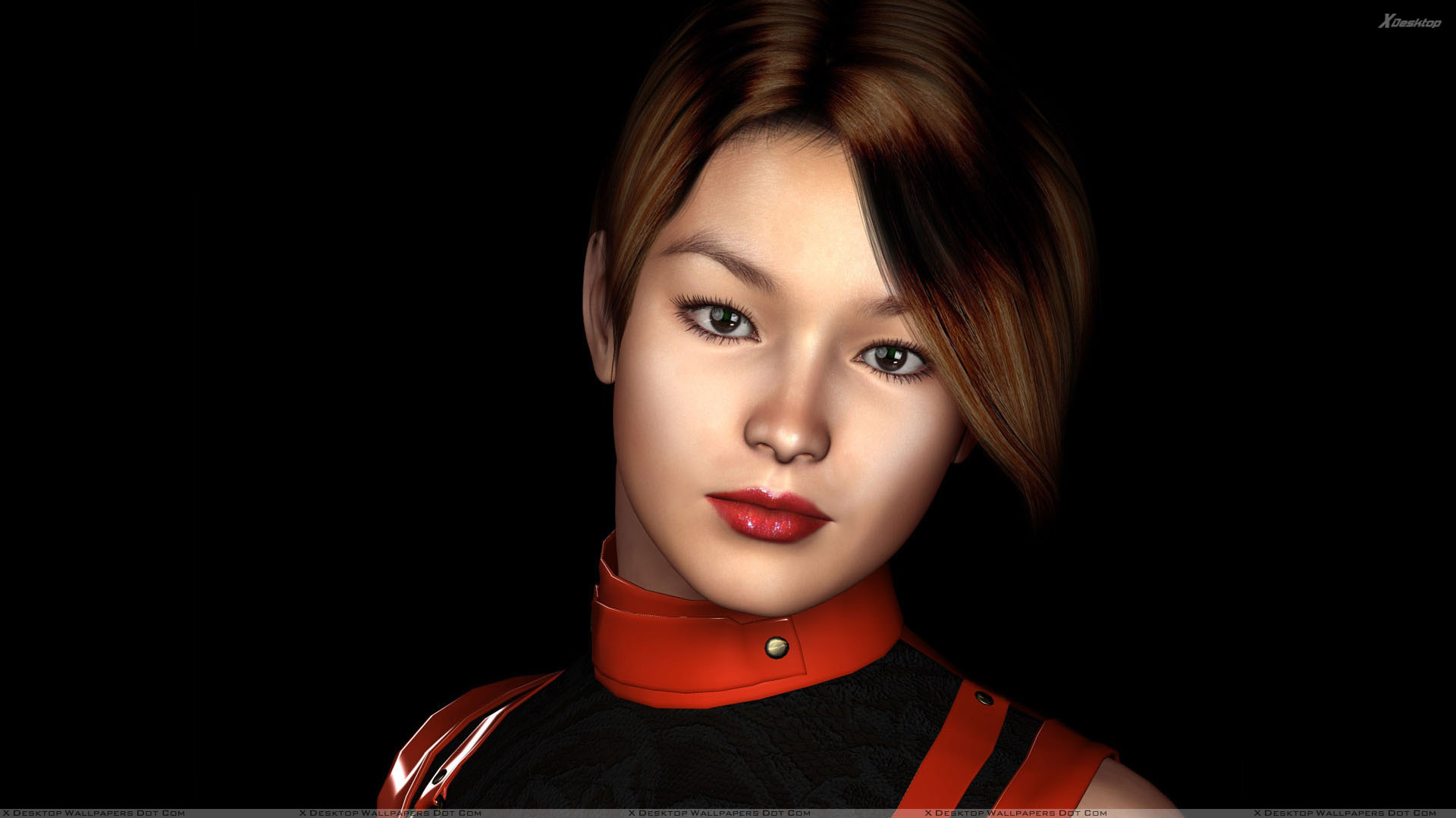 3d girl red lips and cute face closeup n black background wallpaper