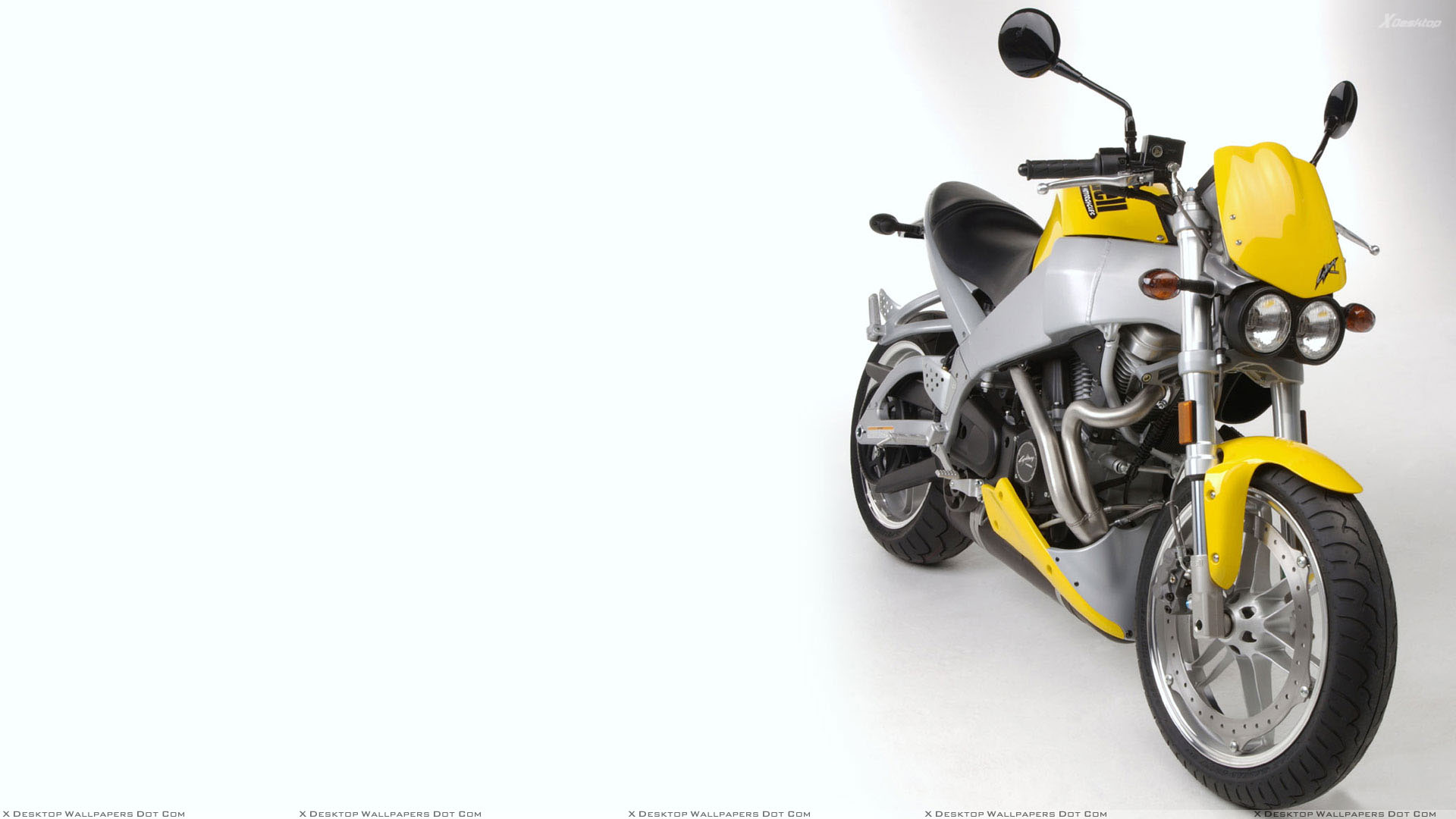 Buell XB9S Lightning 2003 Front Pose in Yellow Wallpaper