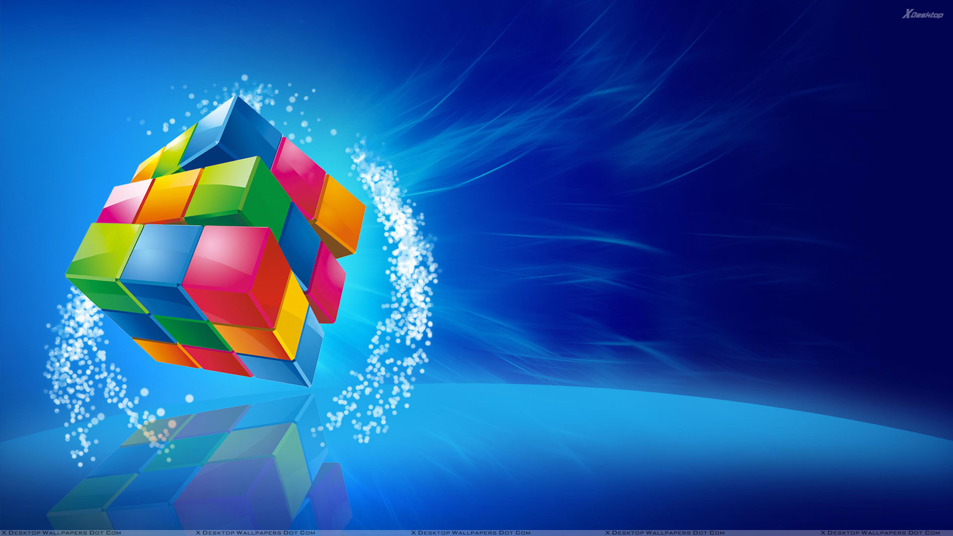 color cube on blue background wallpaper