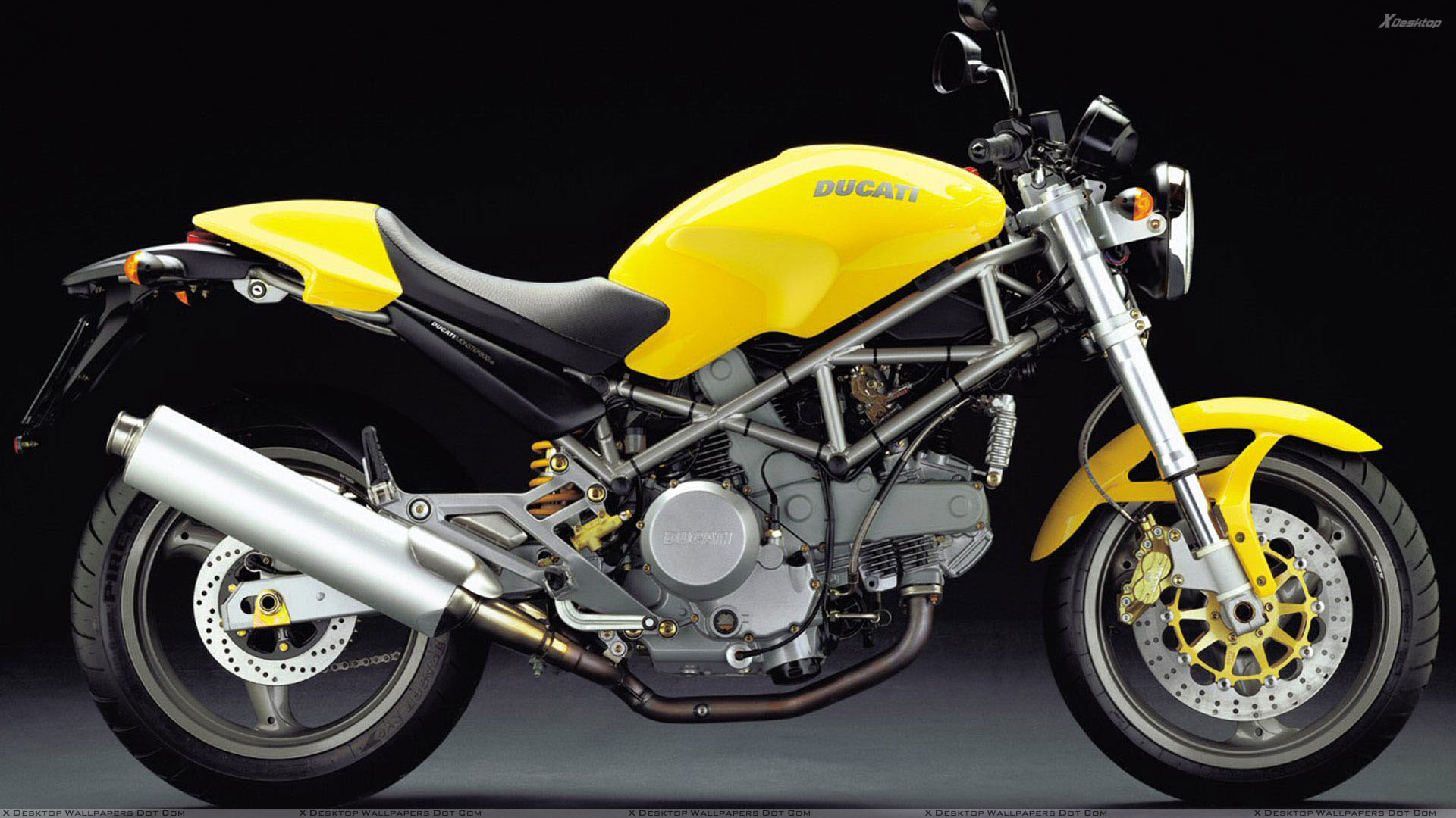 Ducati Monster 800 2004 in Yellow Side Pose Wallpaper
