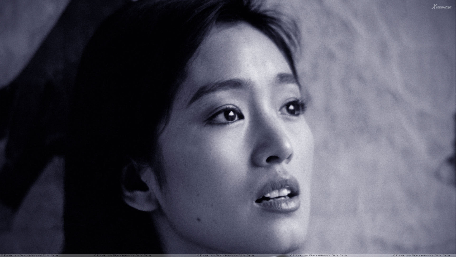 You are viewing wallpaper titled gong li black and white sad side face