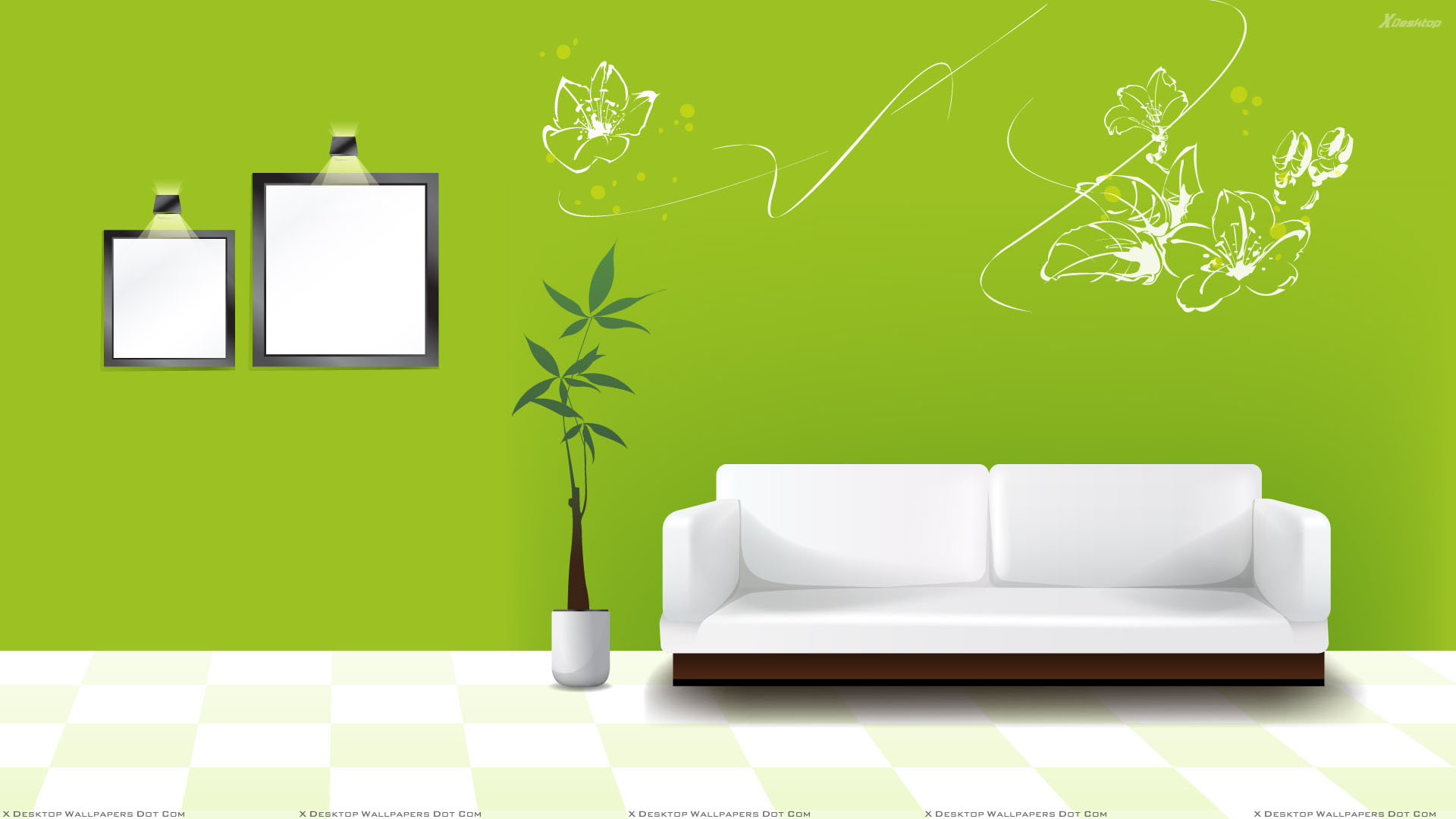 Green Background And White Sofa Wallpaper