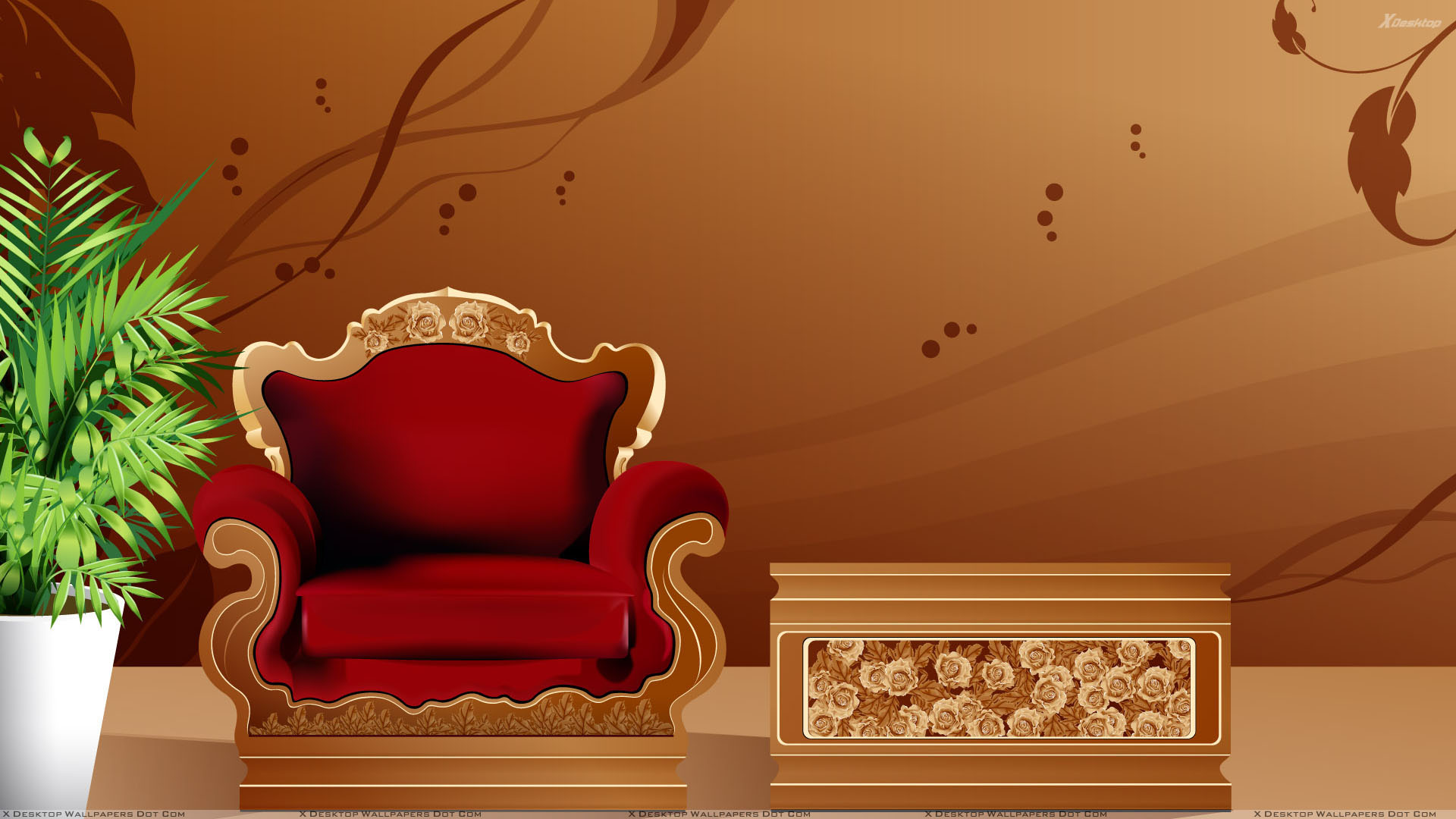 Red Sofa And Brown Digital Background Wallpaper