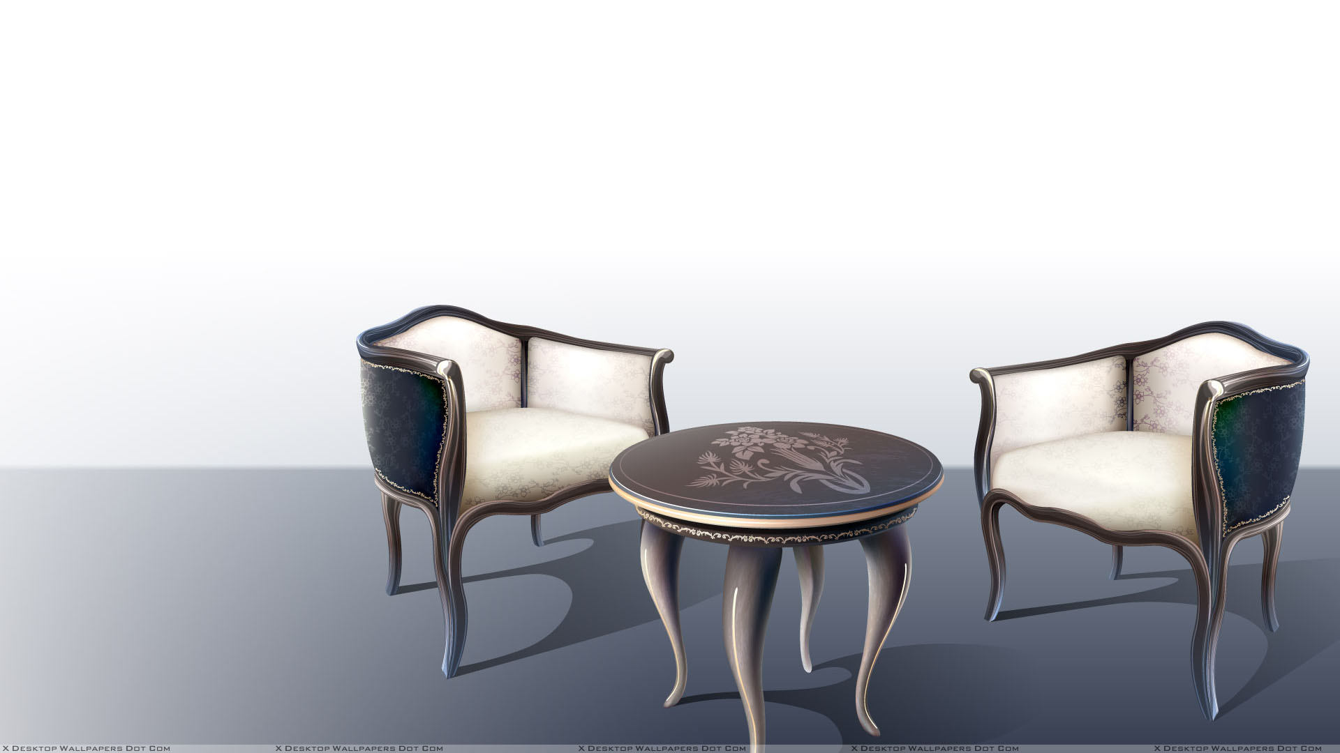 Two Chairs And Table With White Background Wallpaper