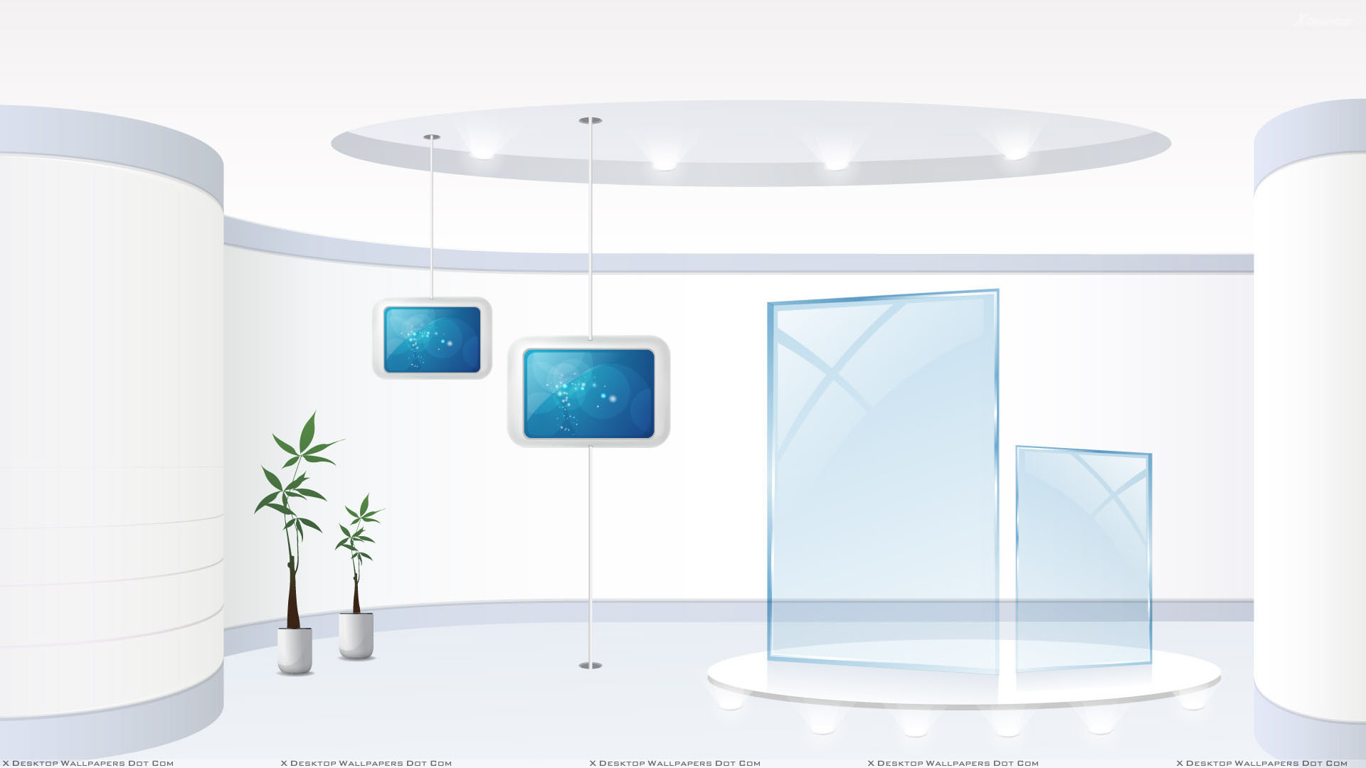 White Background And Hanging Display In Office Wallpaper