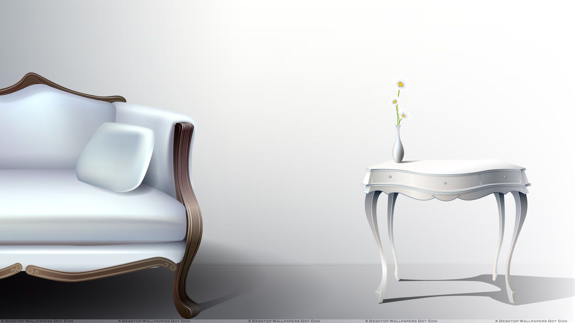 White Half Sofa And White Table With White Background