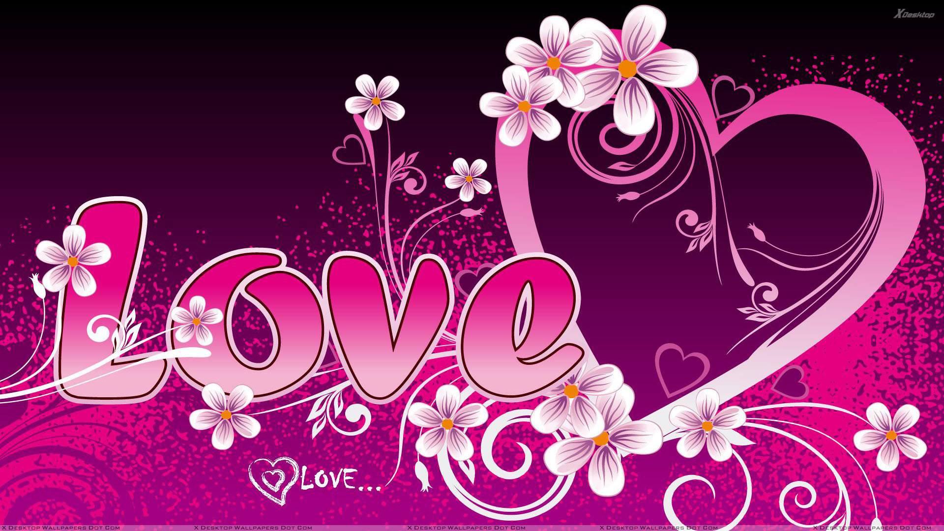 Writing Pink Love And Heart Wallpaper