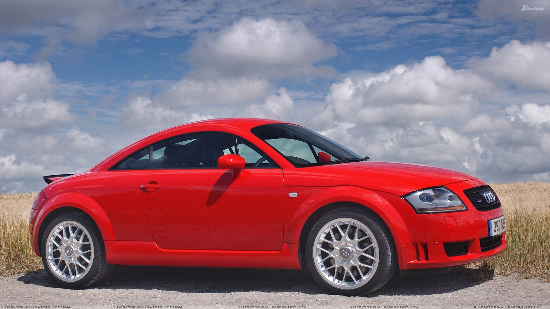2003 audi tt coupe side pose in red wallpaper. Black Bedroom Furniture Sets. Home Design Ideas
