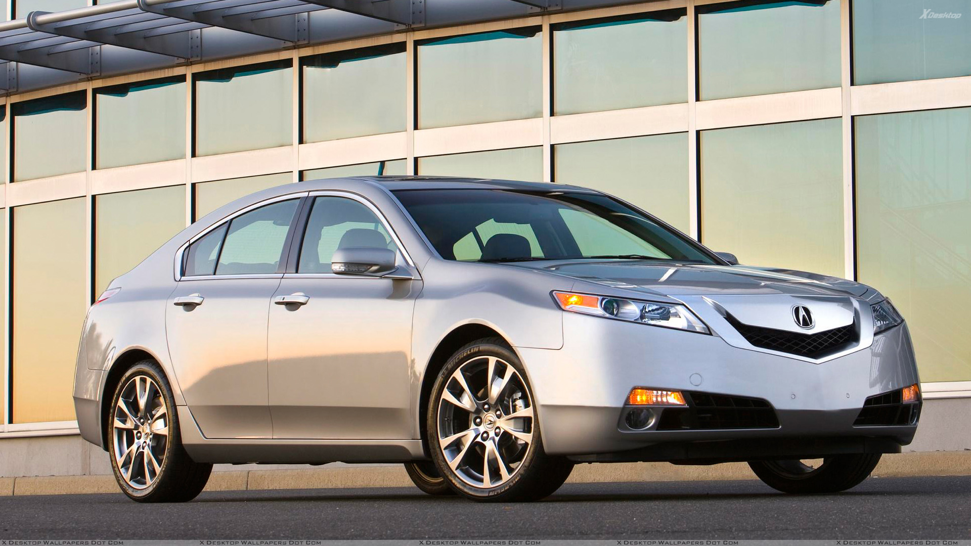 2009 acura tl sh awd side front pose in silver wallpaper