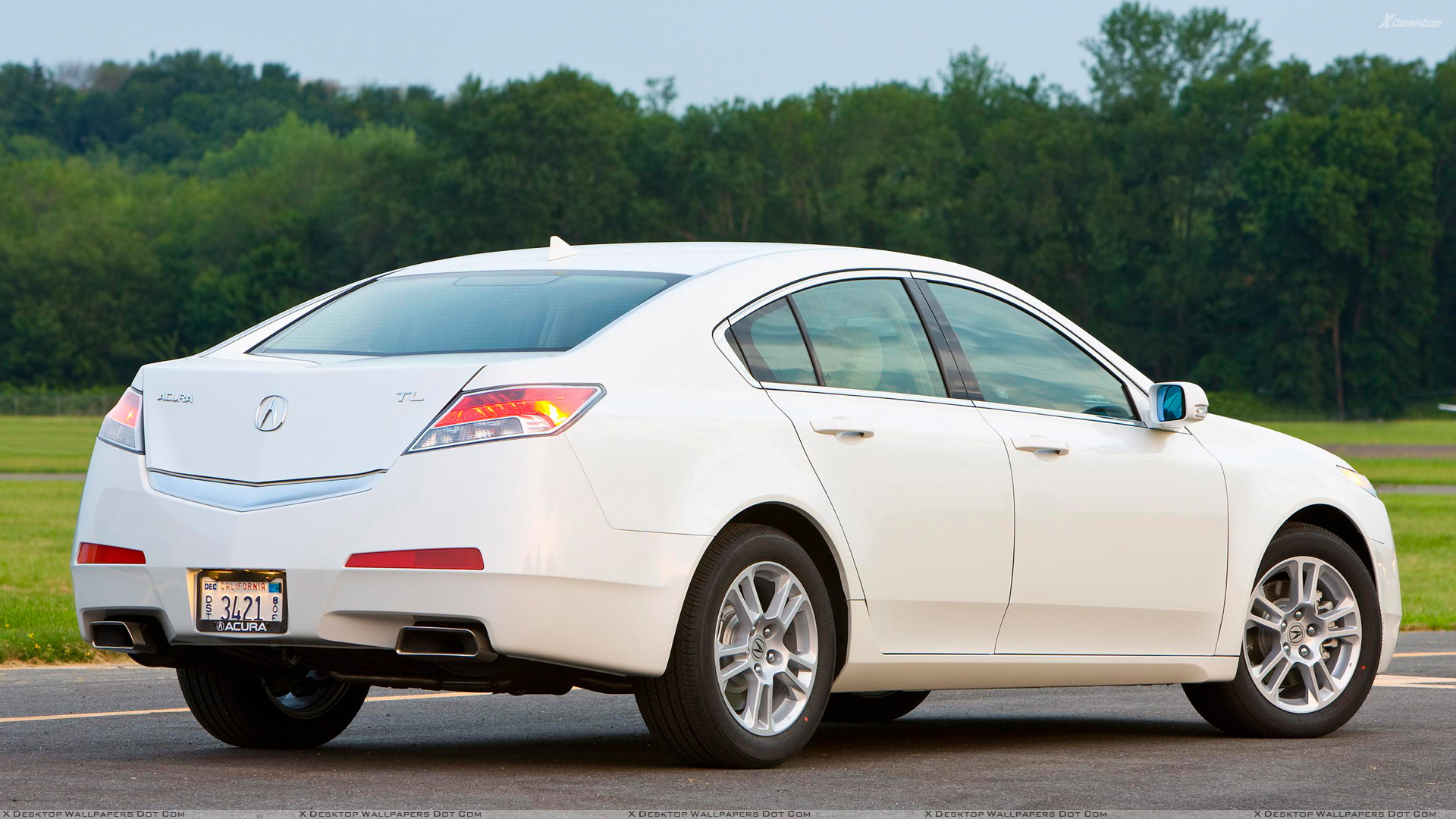 2009 acura tl side back pose in white wallpaper