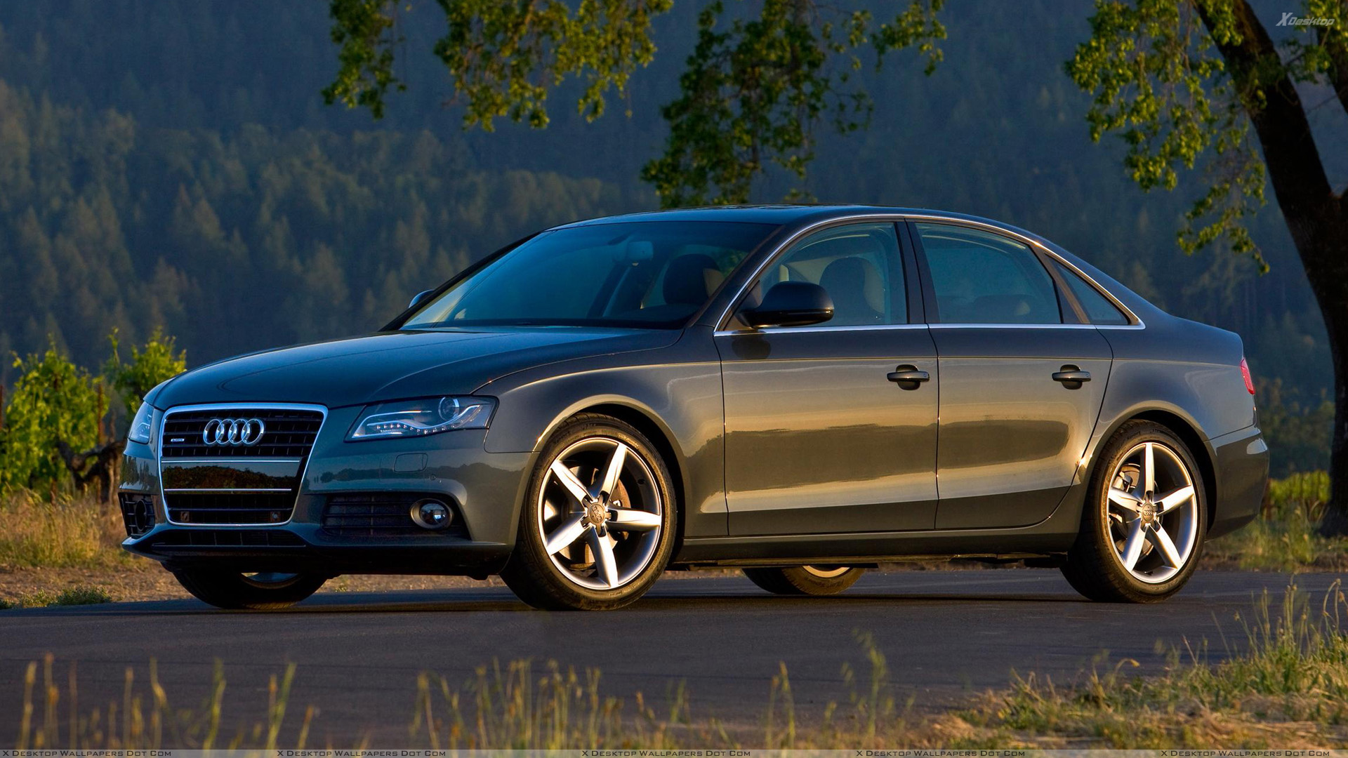 2009 audi a4 luxury sport sedan side pose in dark grey wallpaper. Black Bedroom Furniture Sets. Home Design Ideas