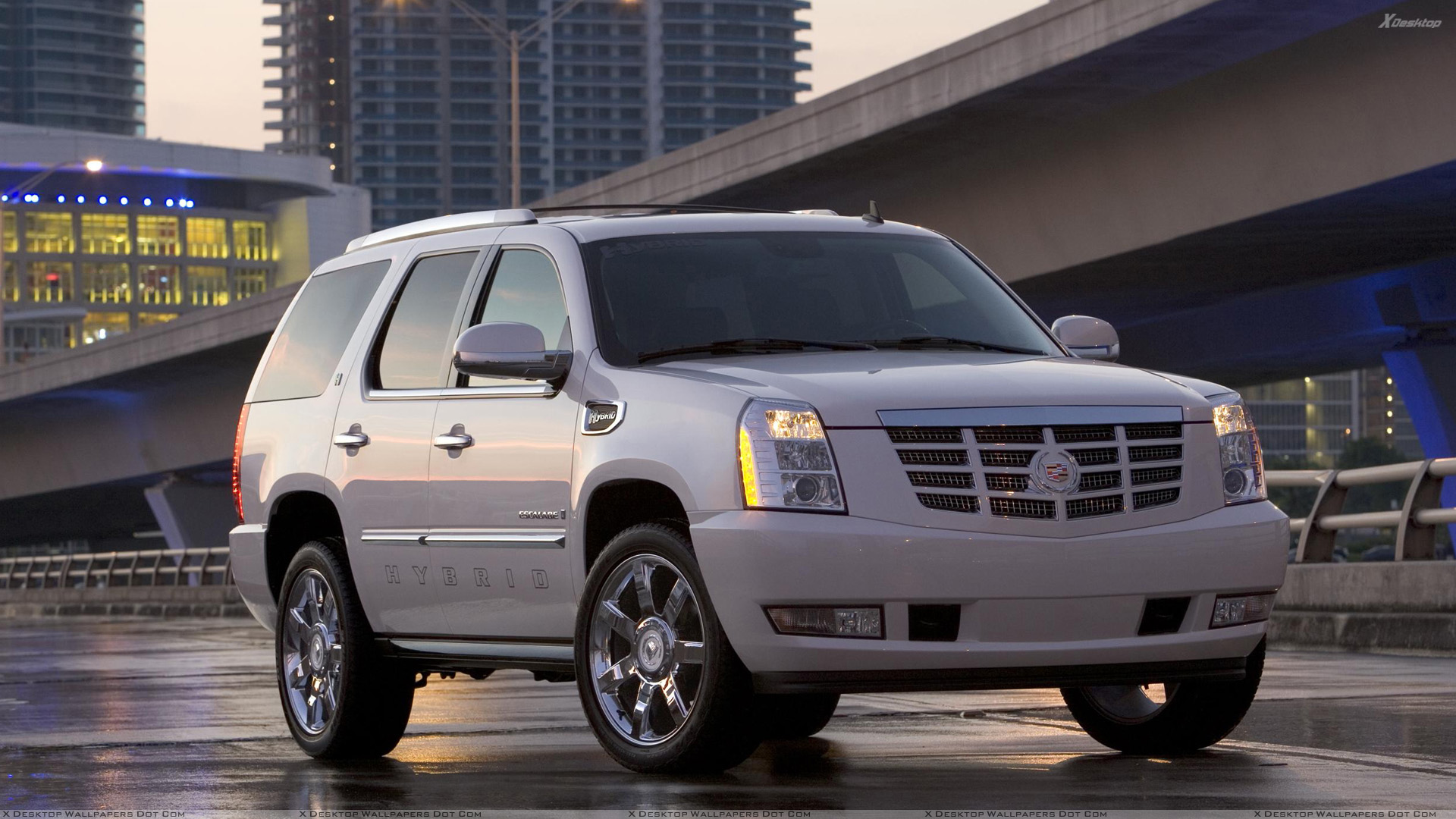 2009 cadillac escalade hybrid in white front pose wallpaper. Black Bedroom Furniture Sets. Home Design Ideas
