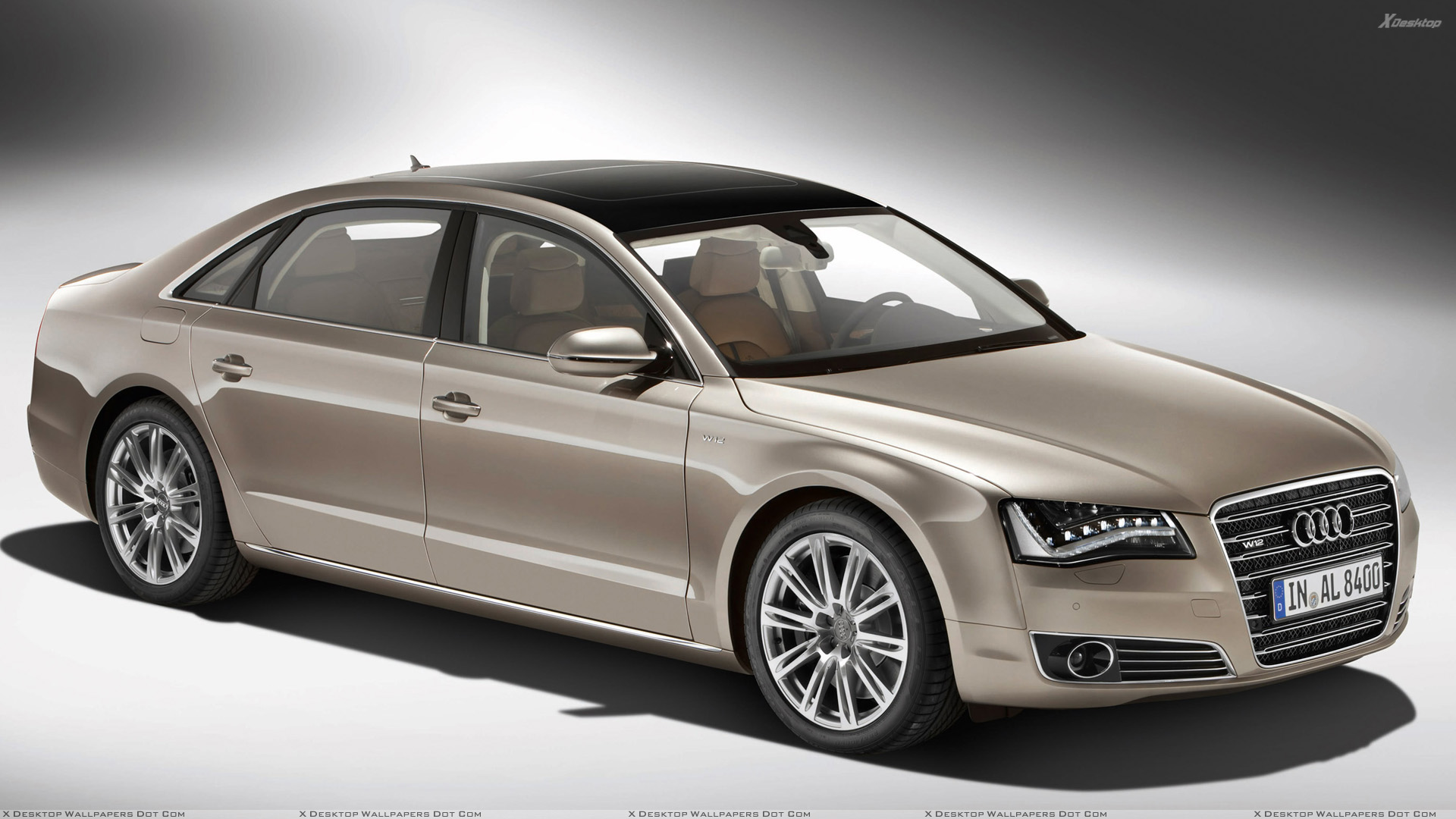 2011 audi a8 l w12 quattro side front pose in golden wallpaper. Black Bedroom Furniture Sets. Home Design Ideas