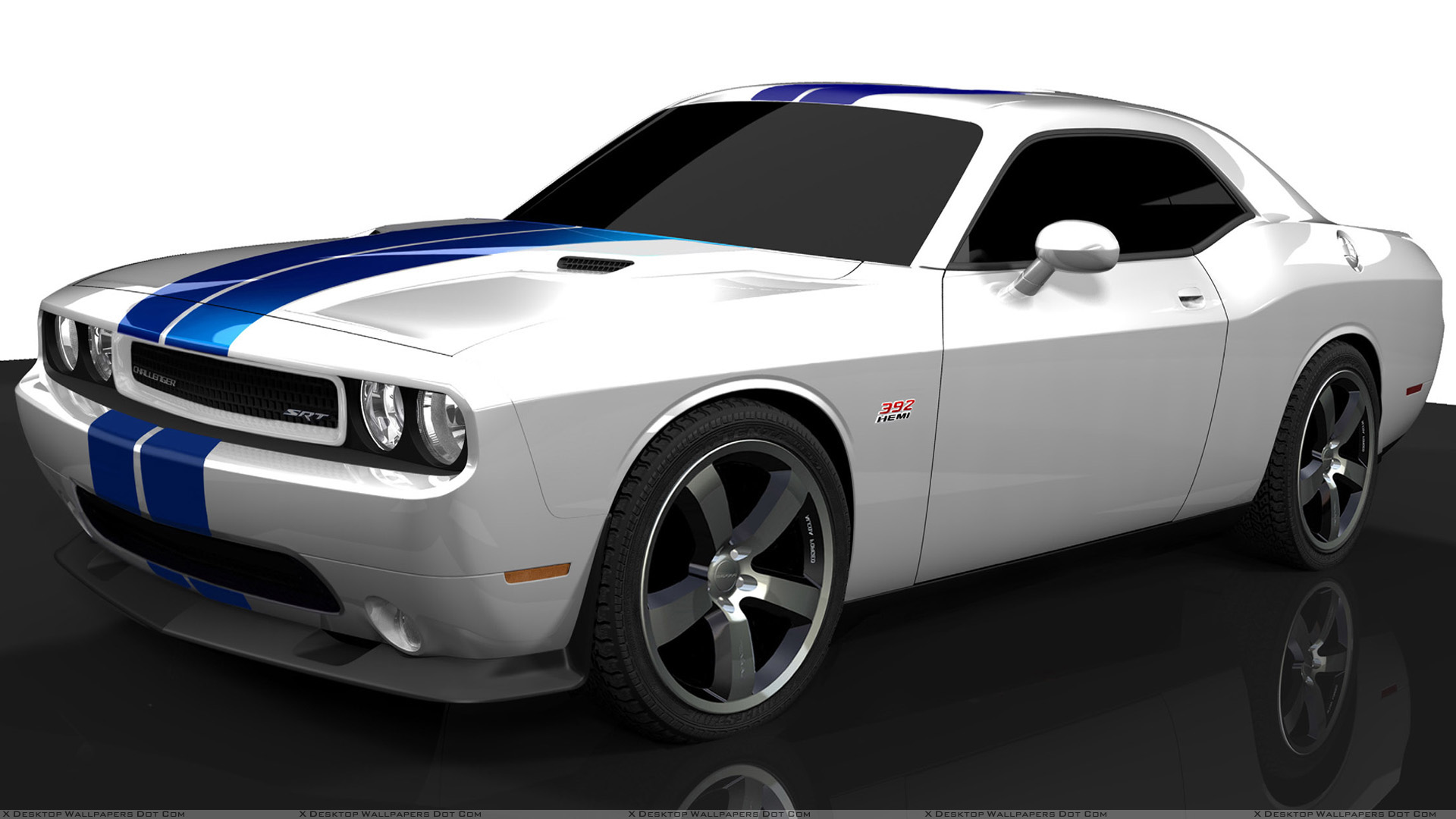 2011 dodge challenger srt8 in white side pose wallpaper