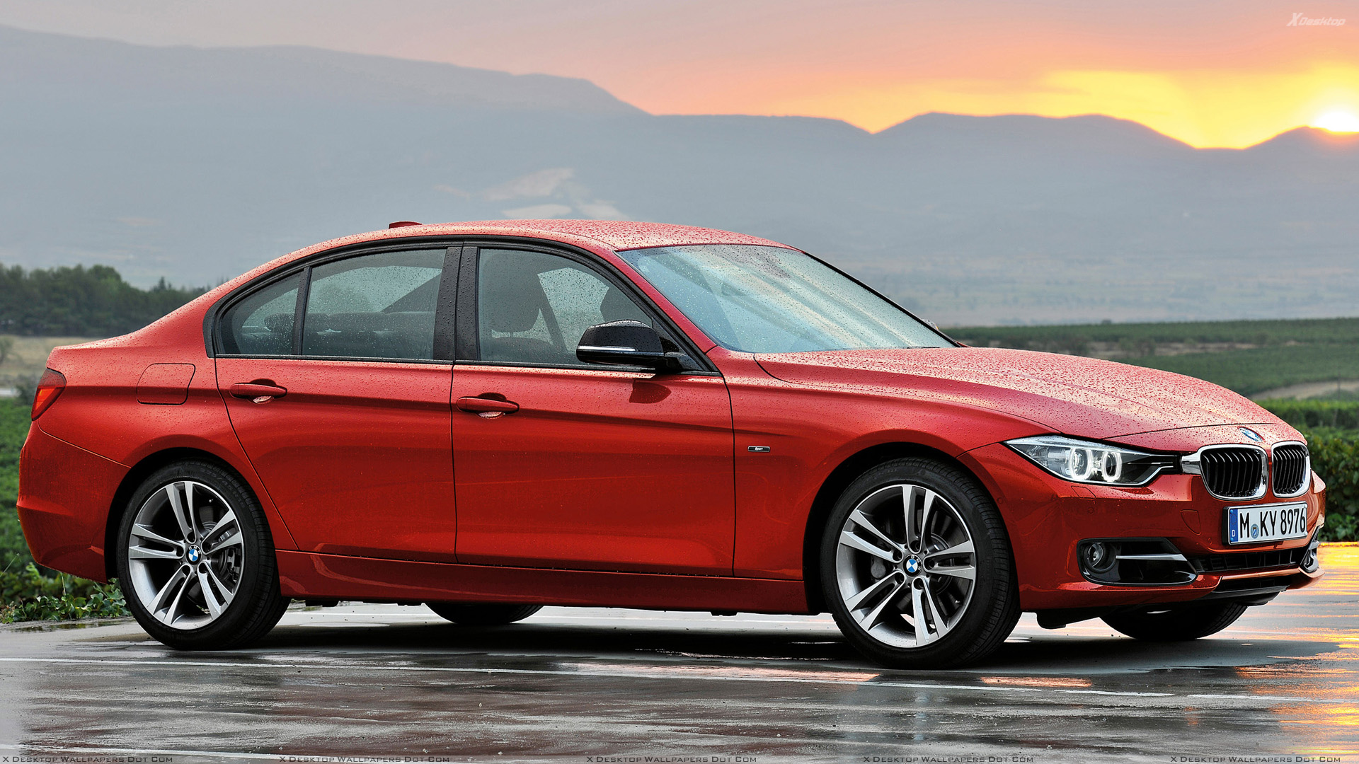 2012 bmw 3 series sedan f30 in red after rain photoshoot. Black Bedroom Furniture Sets. Home Design Ideas