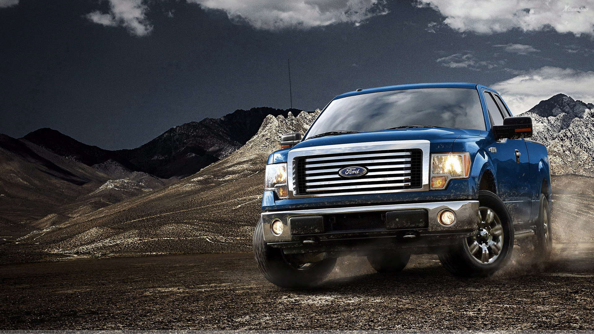 2012 Ford F-150 in Blue Near Mountains Wallpaper