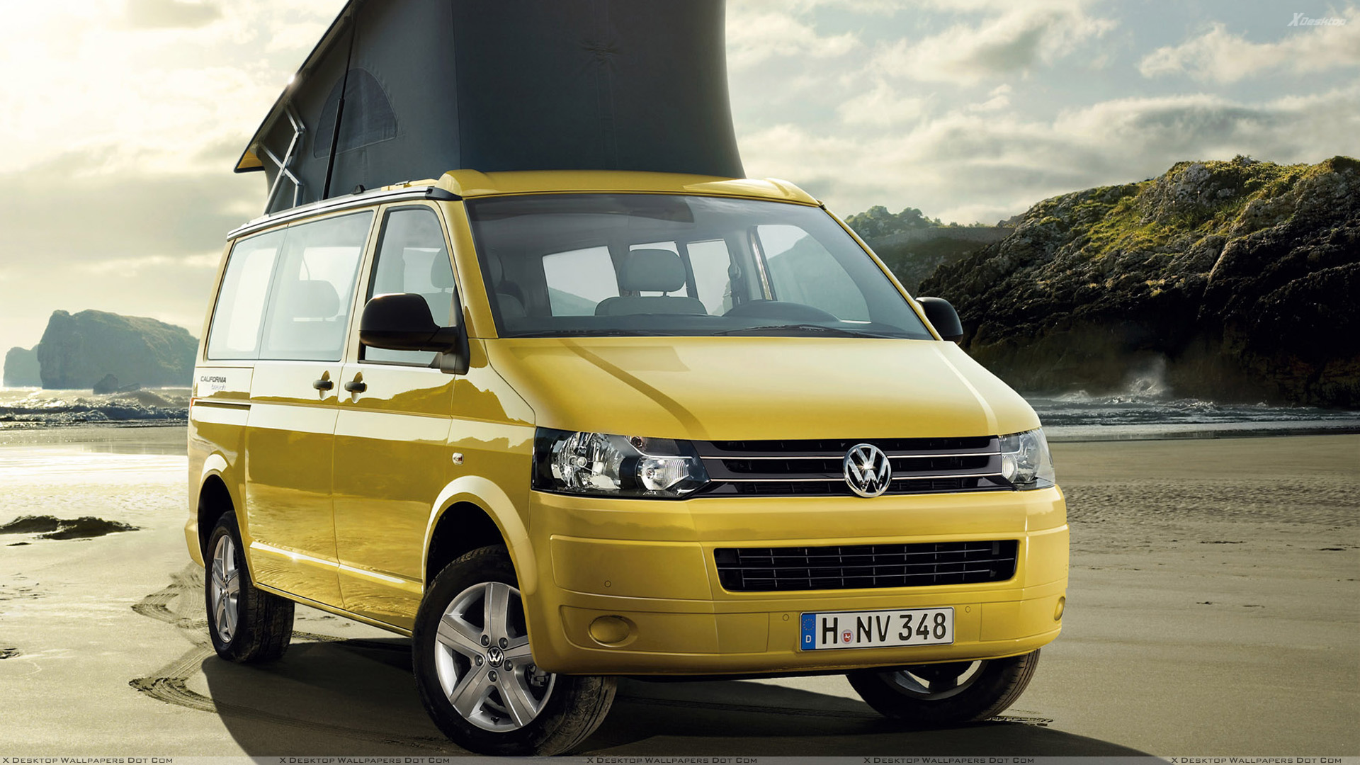2012 volkswagen california beach in yellow front pose wallpaper. Black Bedroom Furniture Sets. Home Design Ideas