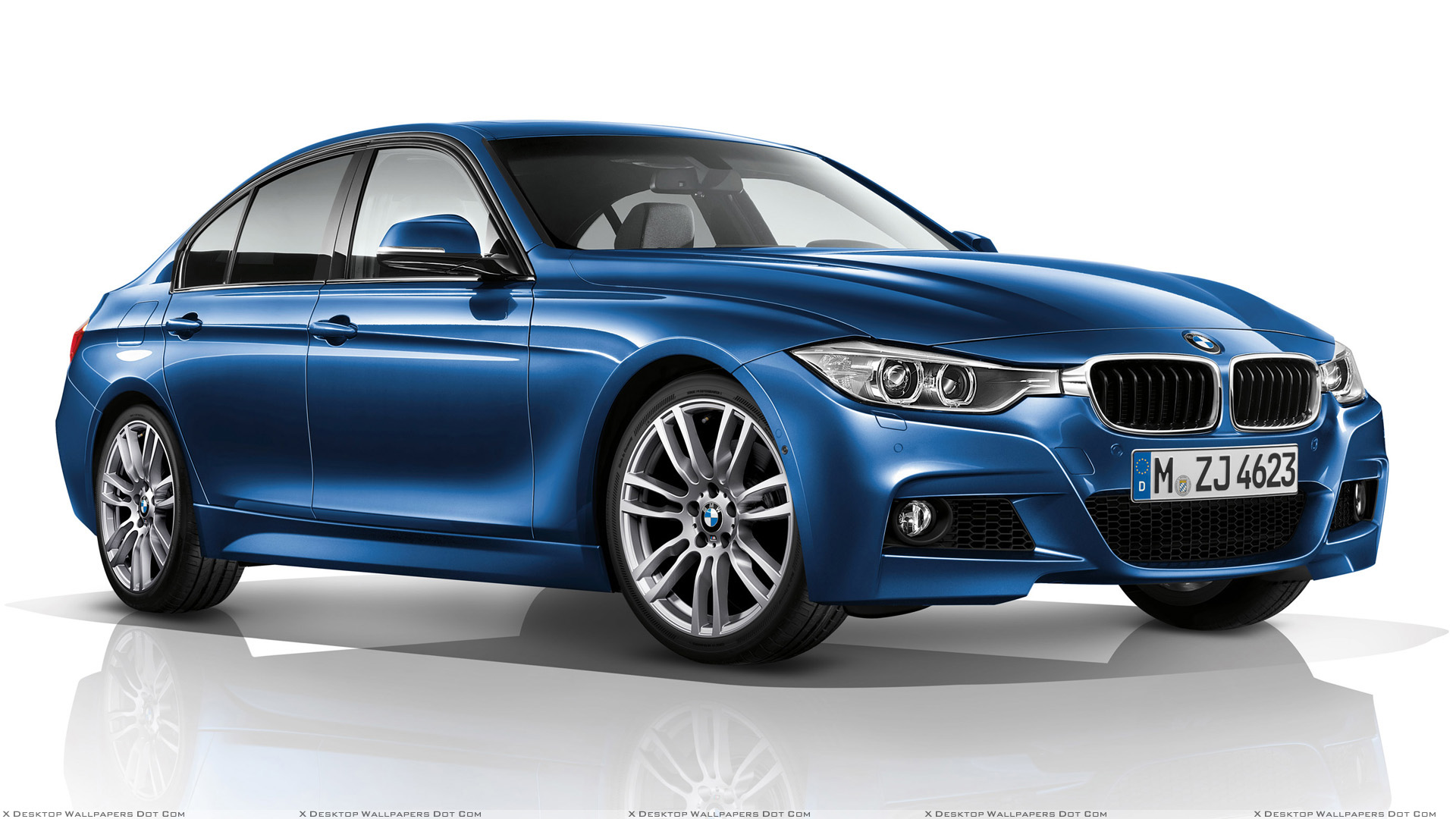 BMW 3 Series F30 M Sports Package Side Front Pose In Blue N White Background Wallpaper